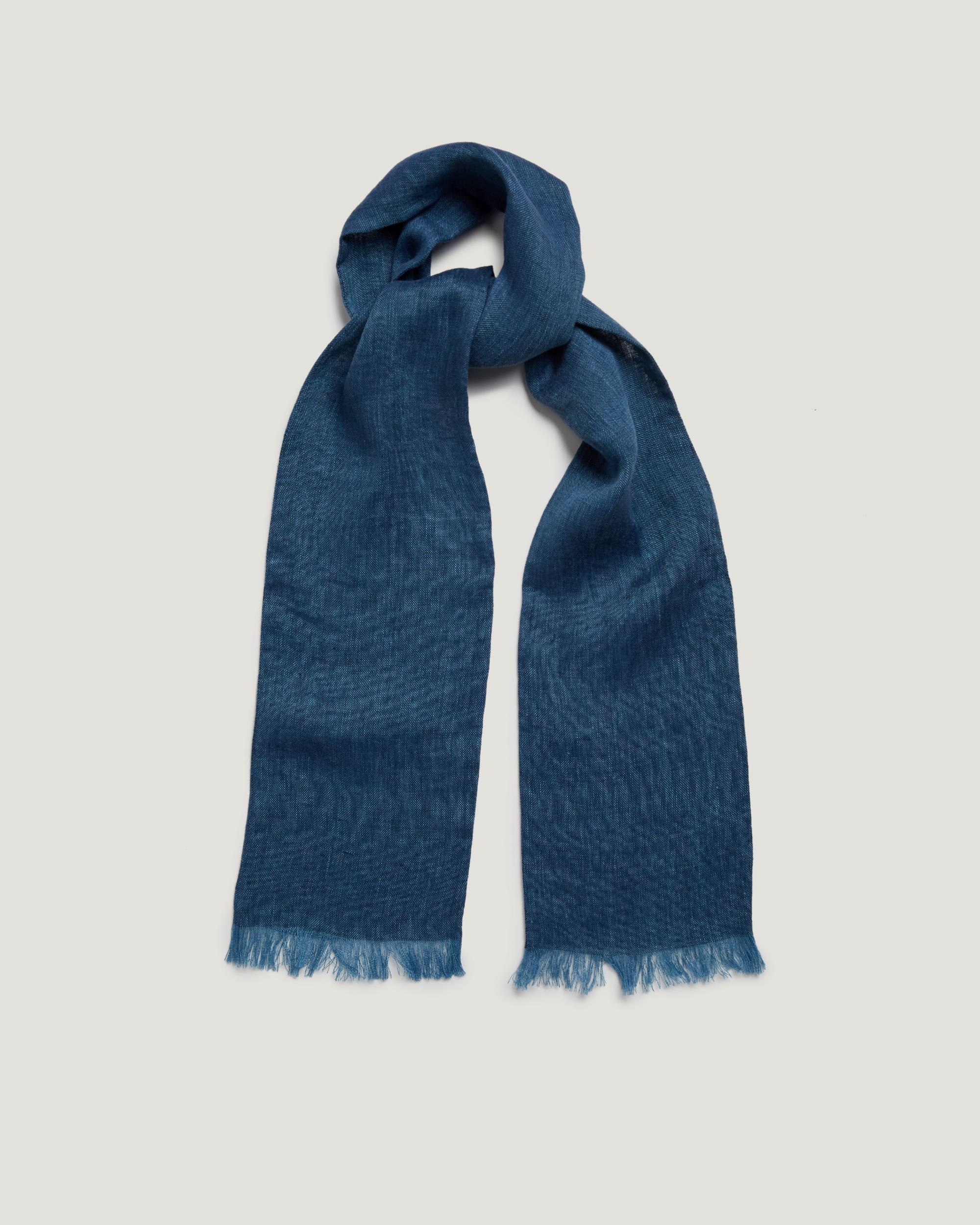 Our Men's Navy and Grey Washed Stripe Linen Scarf is made from linen and acetate. Made in Italy.