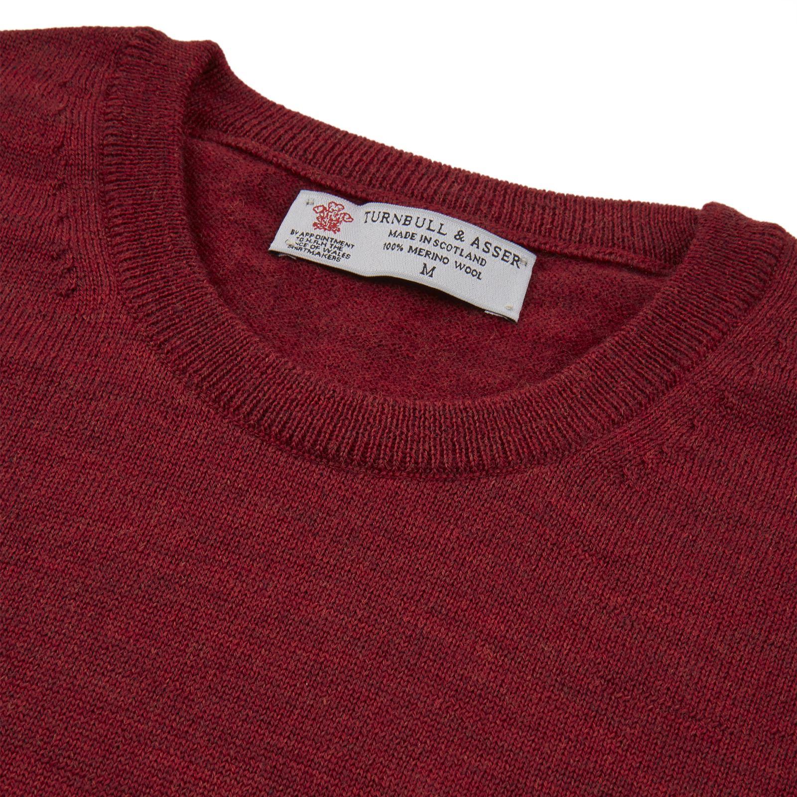 Turnbull & Asser Red Crew Neck Merino Wool Jumper for Men