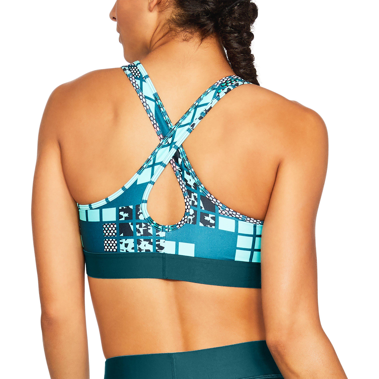 02e55affbe Under Armour Blue Women's Armour® Mid Crossback Metallic Print Sports Bra