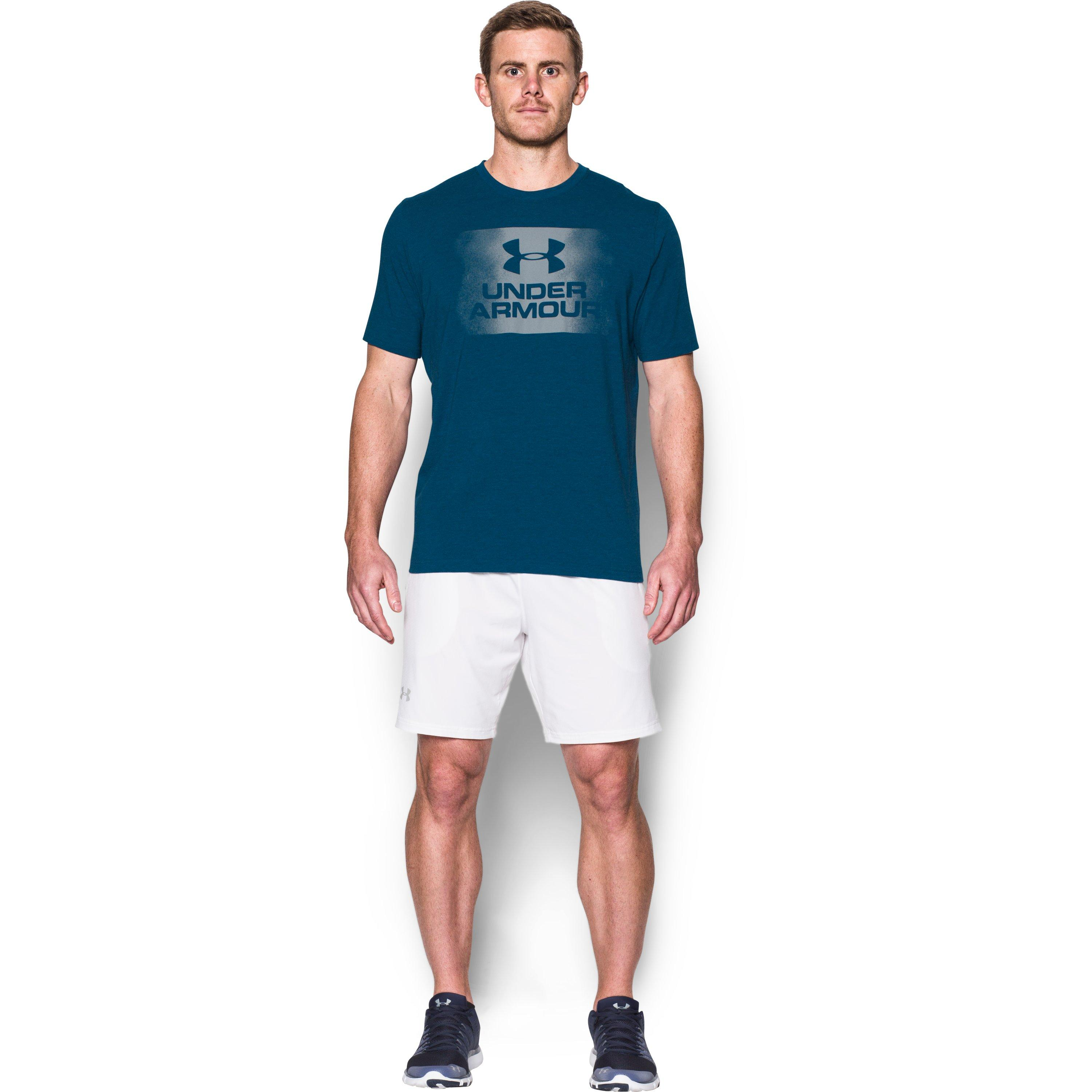 under armour men 39 s ua overspray logo t shirt in blue for