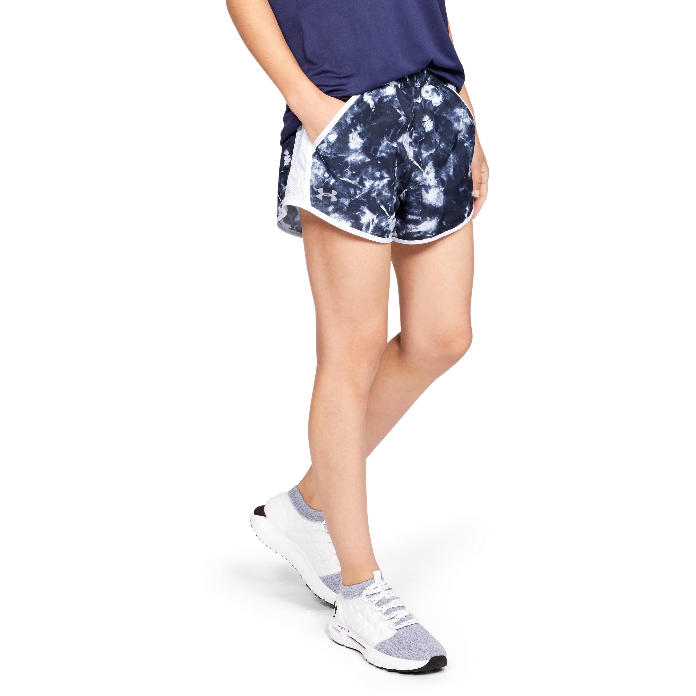 dda1013915c14 Lyst - Under Armour Women's Ua Fly-by Team Printed Shorts in Blue
