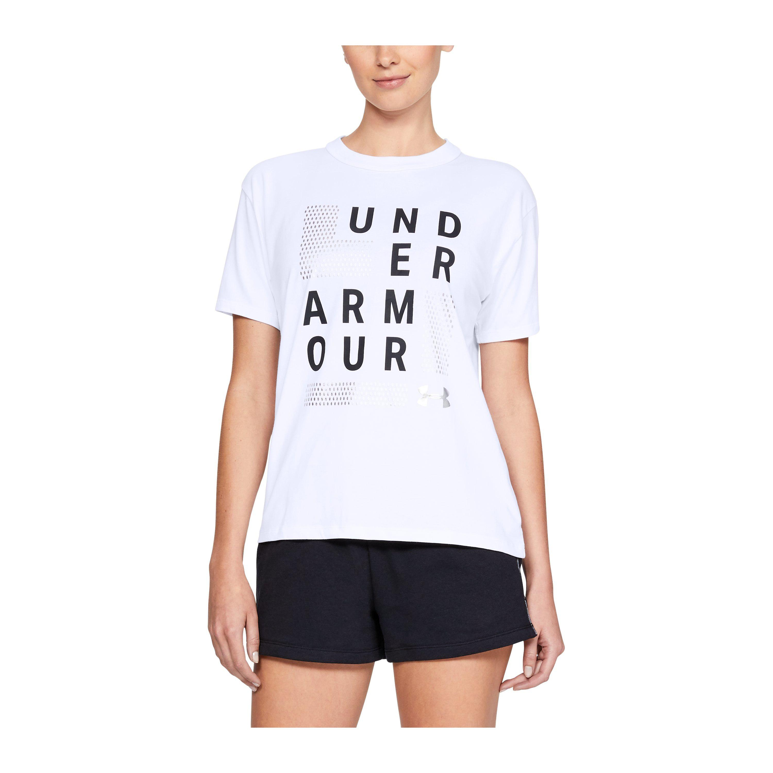6846471d04 Under Armour Women's Ua Square Logo Girlfriend Crew in White - Lyst