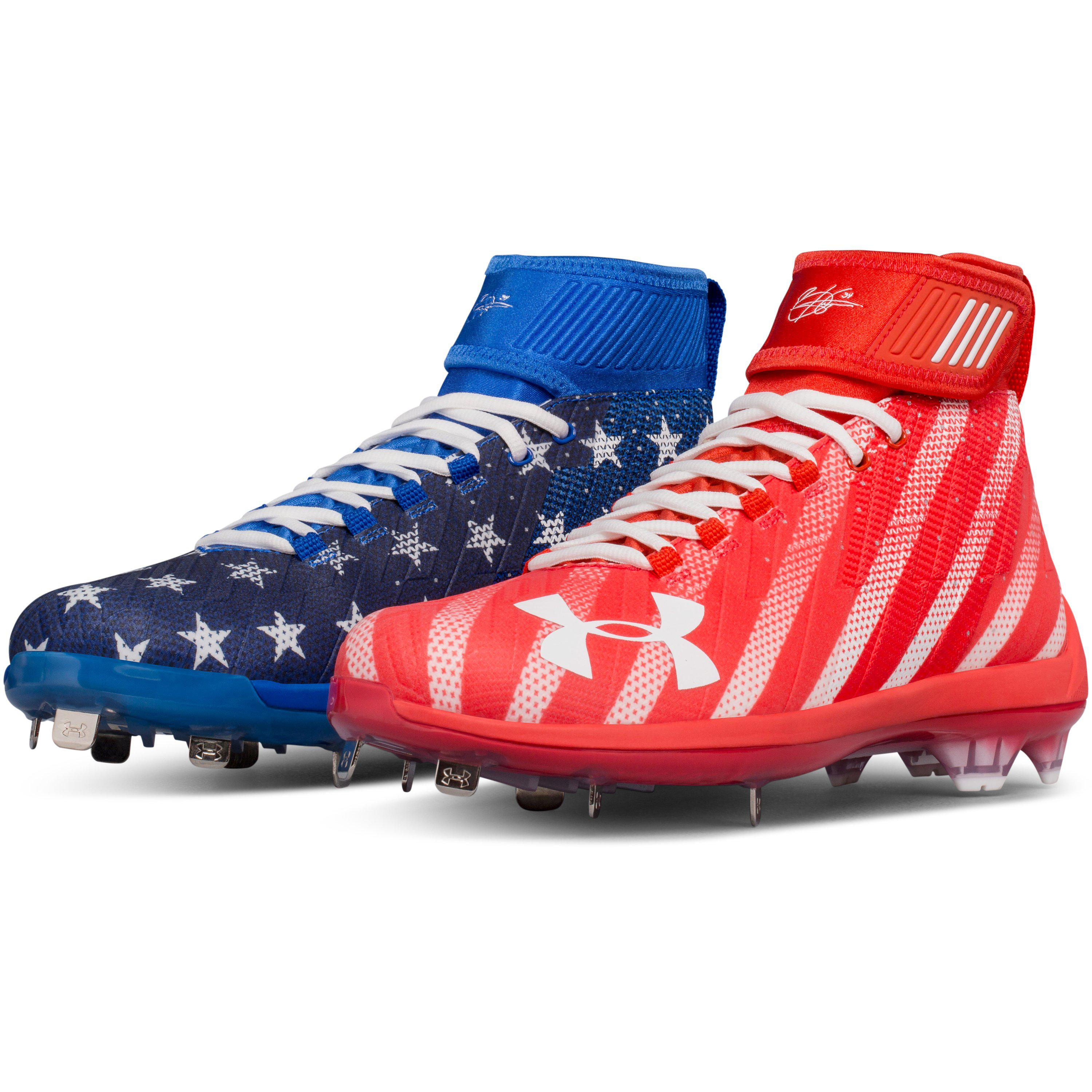 under armour red white and blue cleats