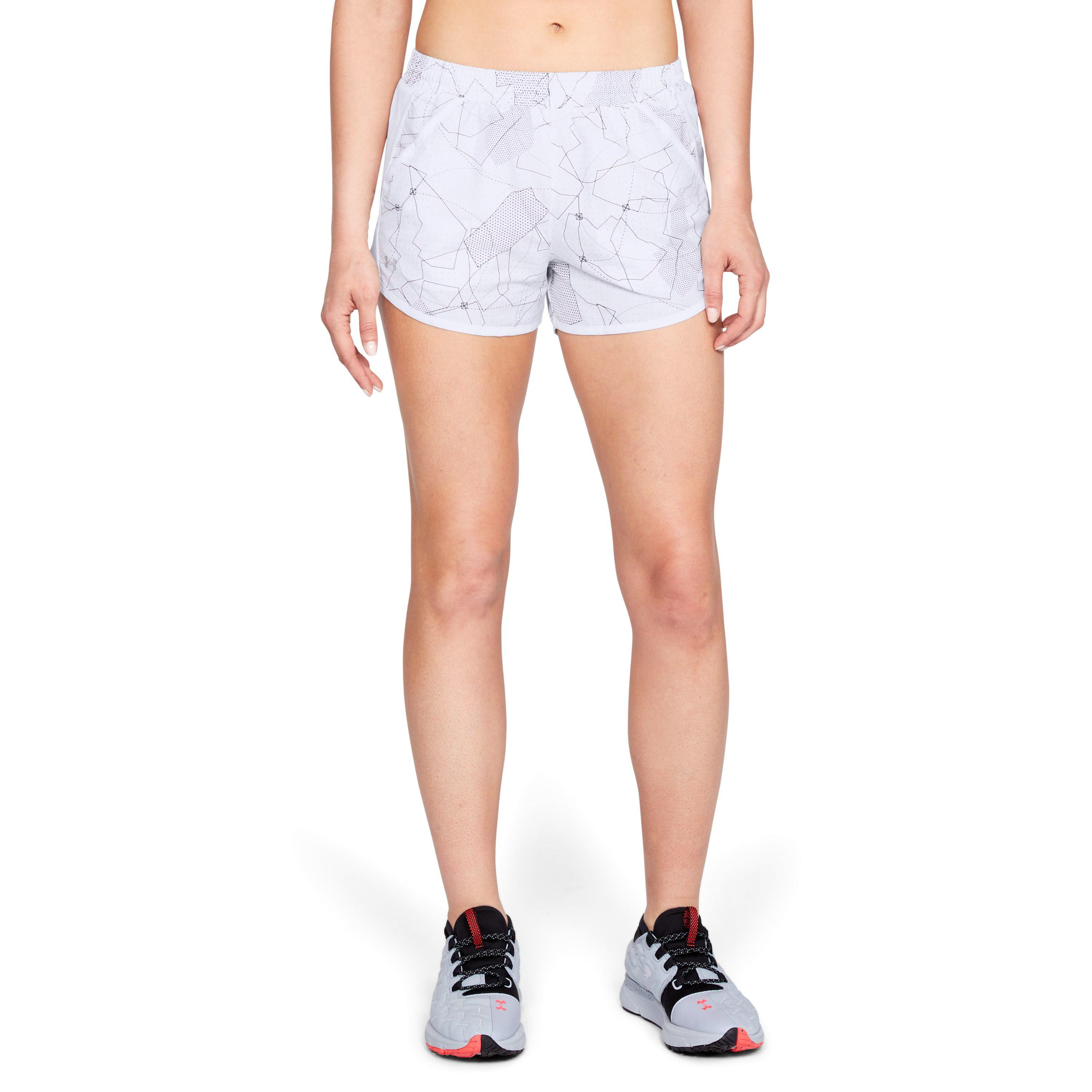 156bc08cd07d6 Under Armour Women's Ua Fly-by Printed Shorts in White - Lyst