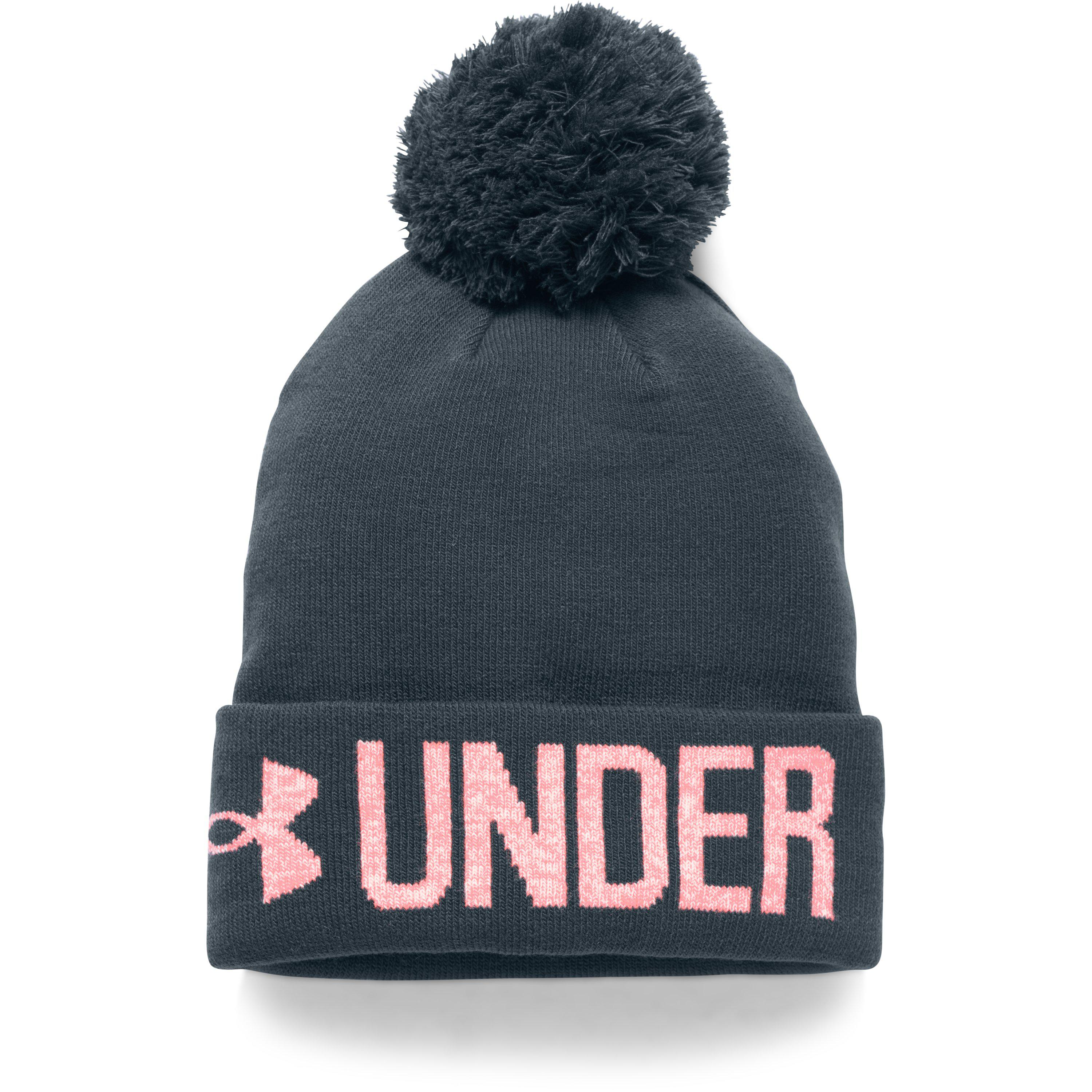 ... new cheap 47505 c84bd Under Armour. Blue Womens Ua Graphic Pom Beanie  ... aedc93c38453
