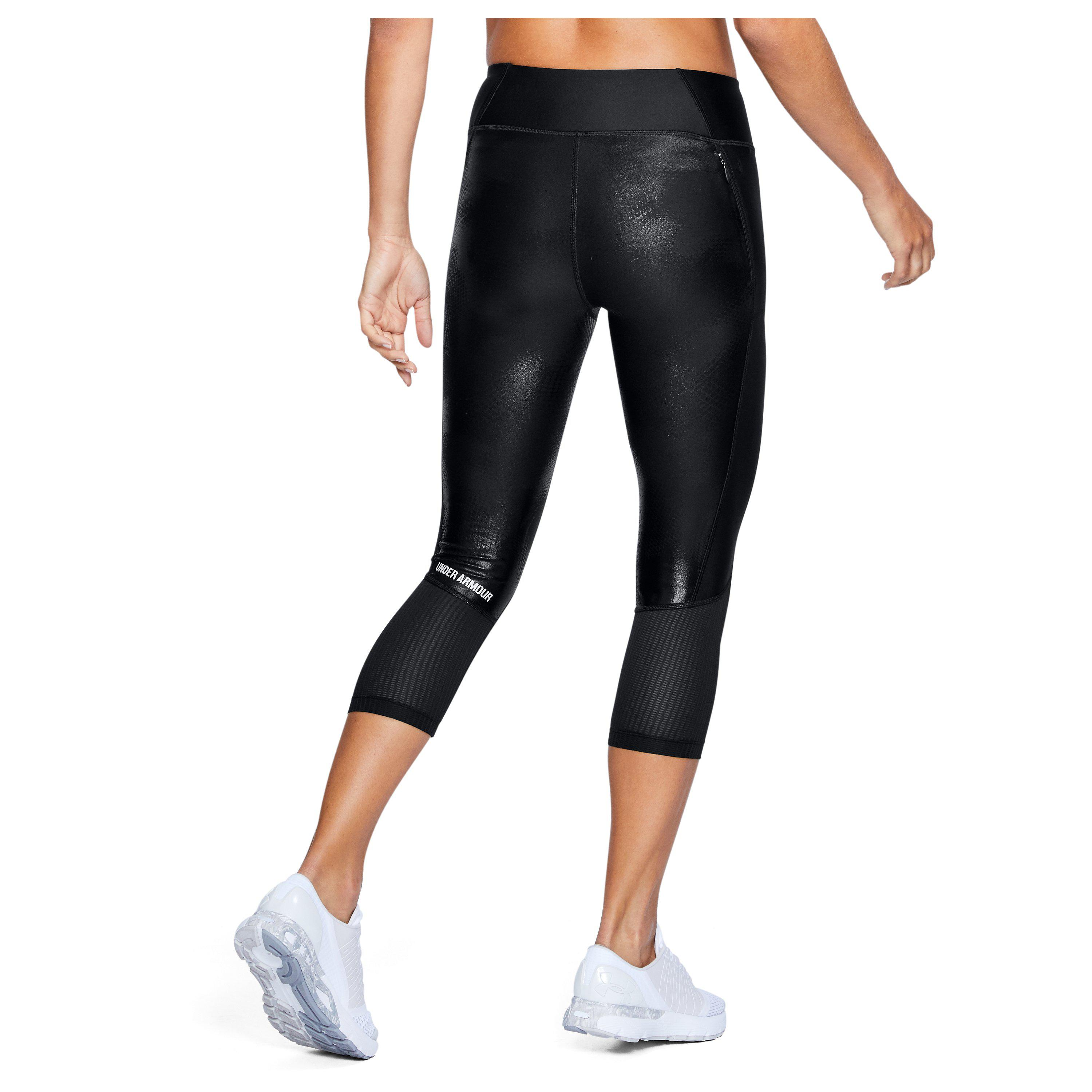 ba071475f31827 Under Armour Women's Ua Fly-by Printed Capris in Black - Lyst