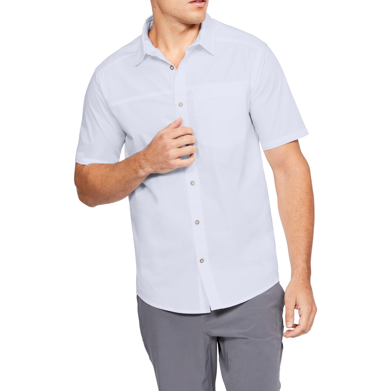 cac202e2 Under Armour White Men's Ua Pierpoint Woven Short Sleeve Button Down for men