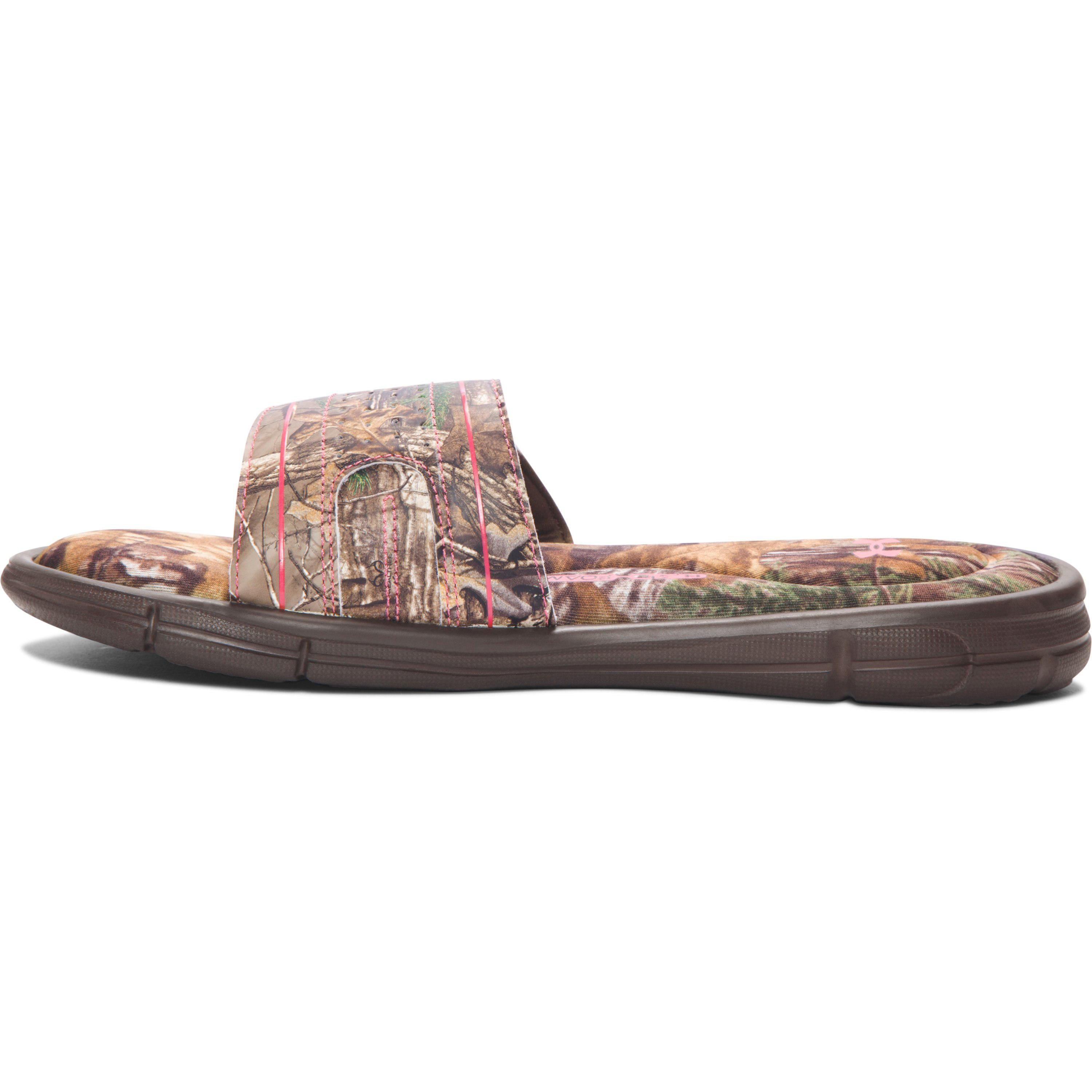 in stock 531a4 7969d Lyst - Under Armour Women s Ua Ignite Camo Viii Slides in Brown