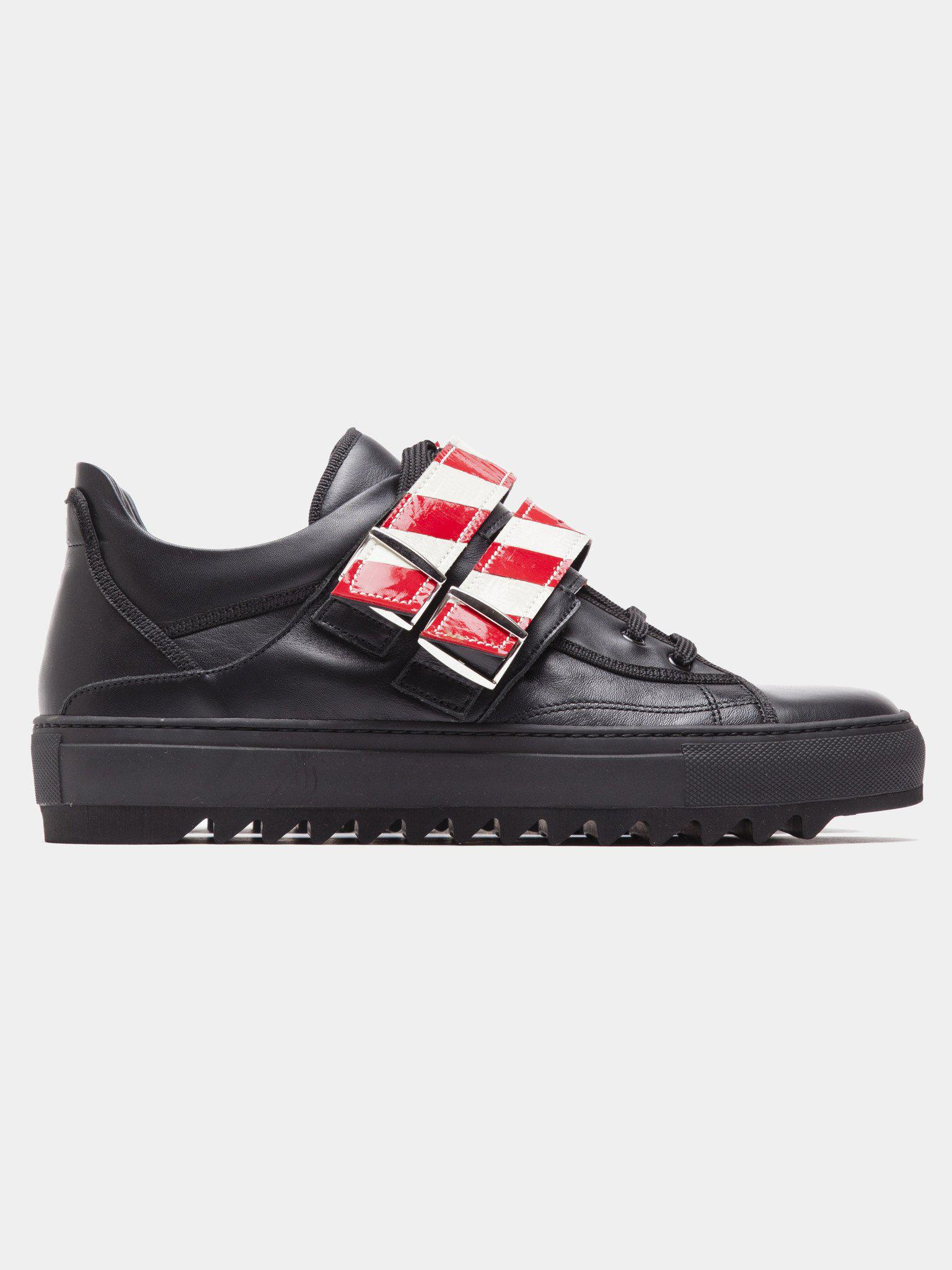 new products 2c6b6 57e7d Lyst - Raf Simons Buckle Strap Low Top Sneaker in Black for