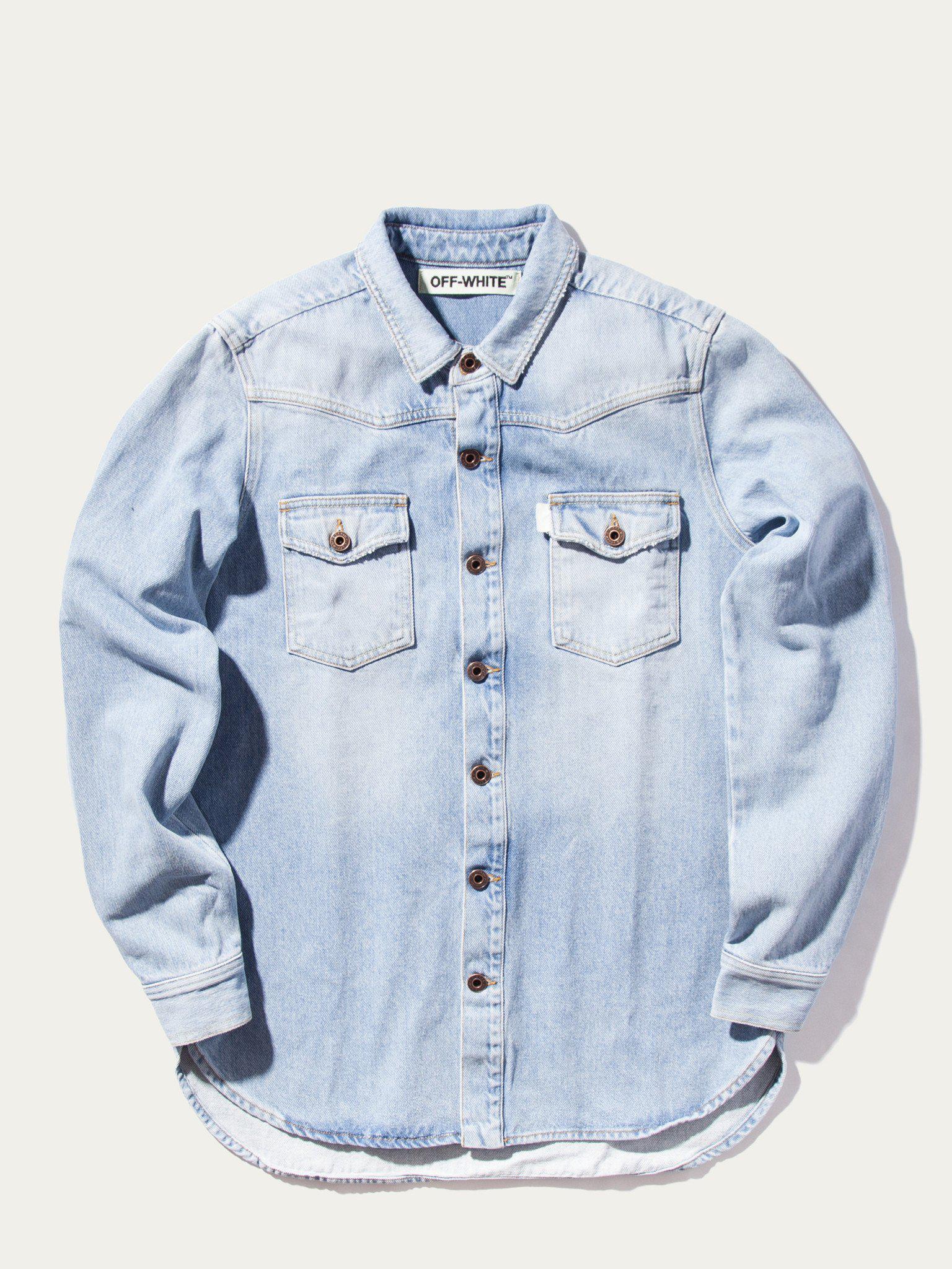 11c20f3739296 Off-White c/o Virgil Abloh Brushed Denim Shirt (bleach White) in ...