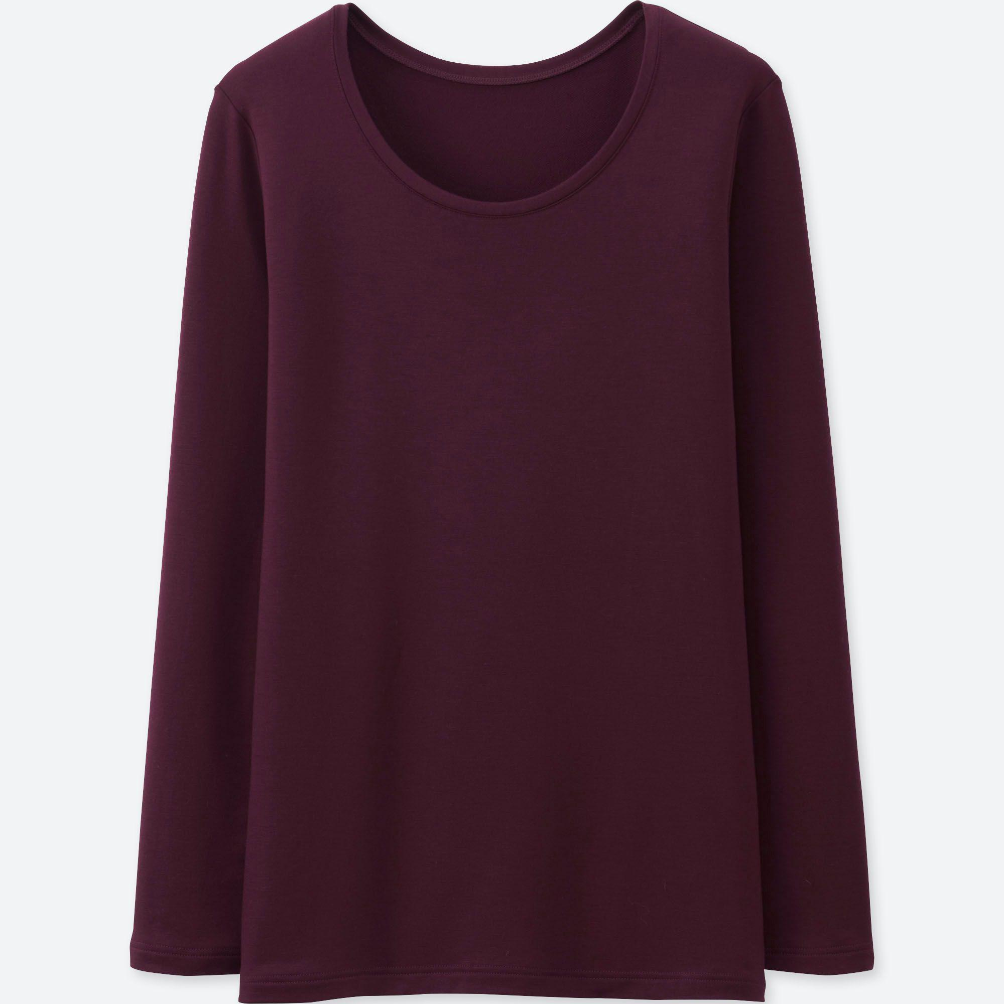 8712f80abb6d Uniqlo Heattech Extra Warm Crew Neck Long Sleeved T-shirt in Purple ...