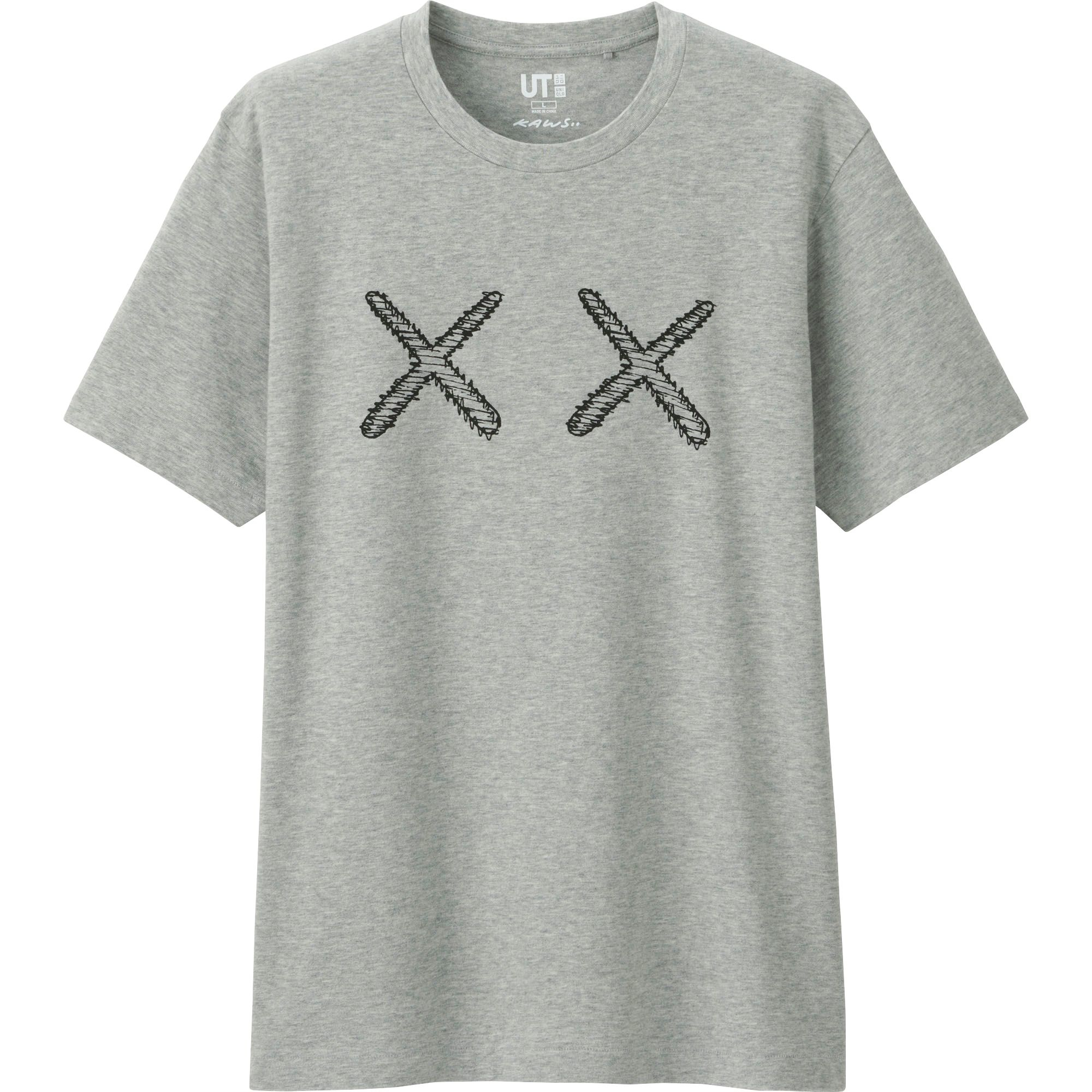 Uniqlo men 39 s kaws graphic tee japan size in gray for men for Uniqlo t shirt sizing