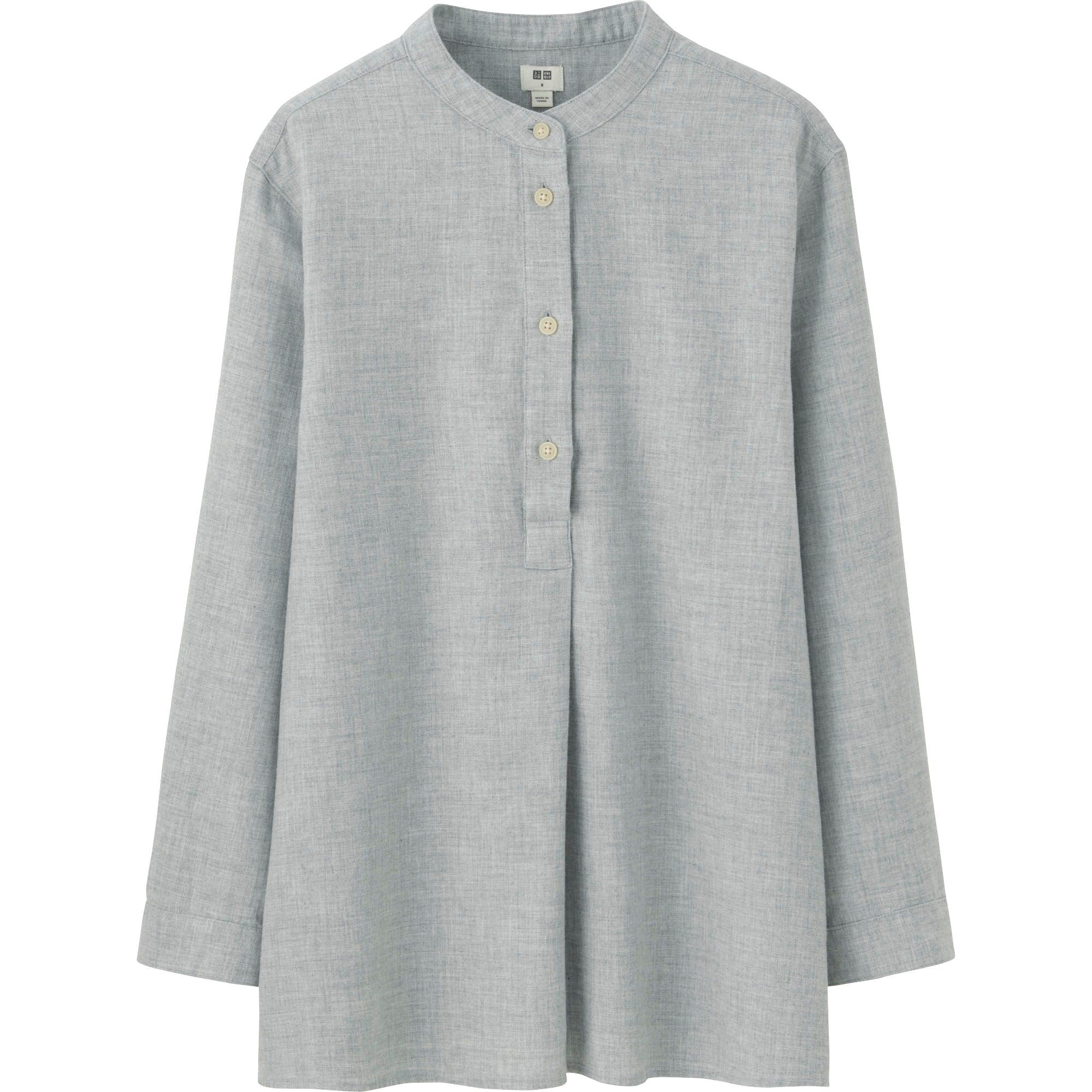 Uniqlo women flannel stand collar long sleeve shirt in for Stand collar shirt womens