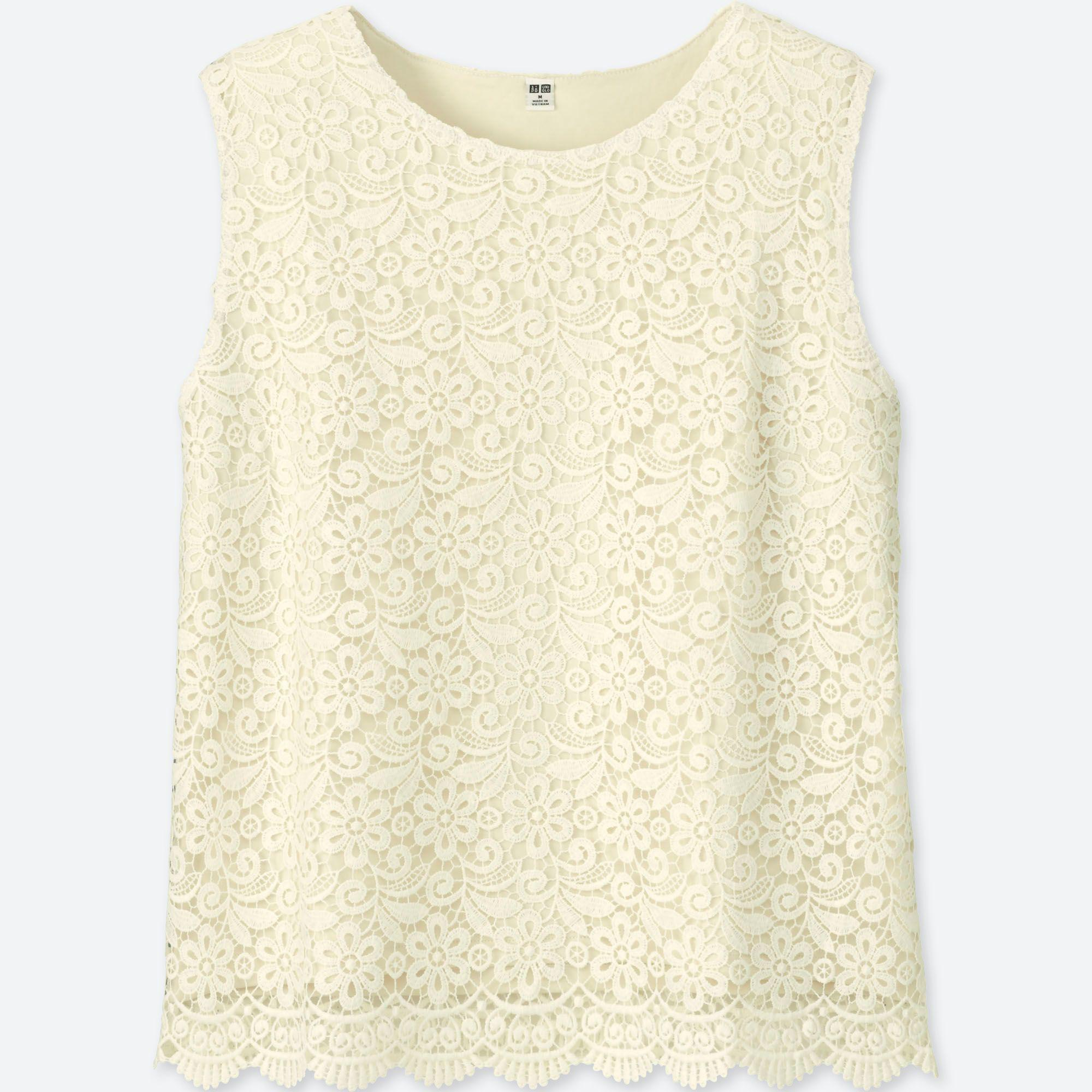 722696f10a448 Uniqlo Lace Sleeveless T-shirt in White - Lyst