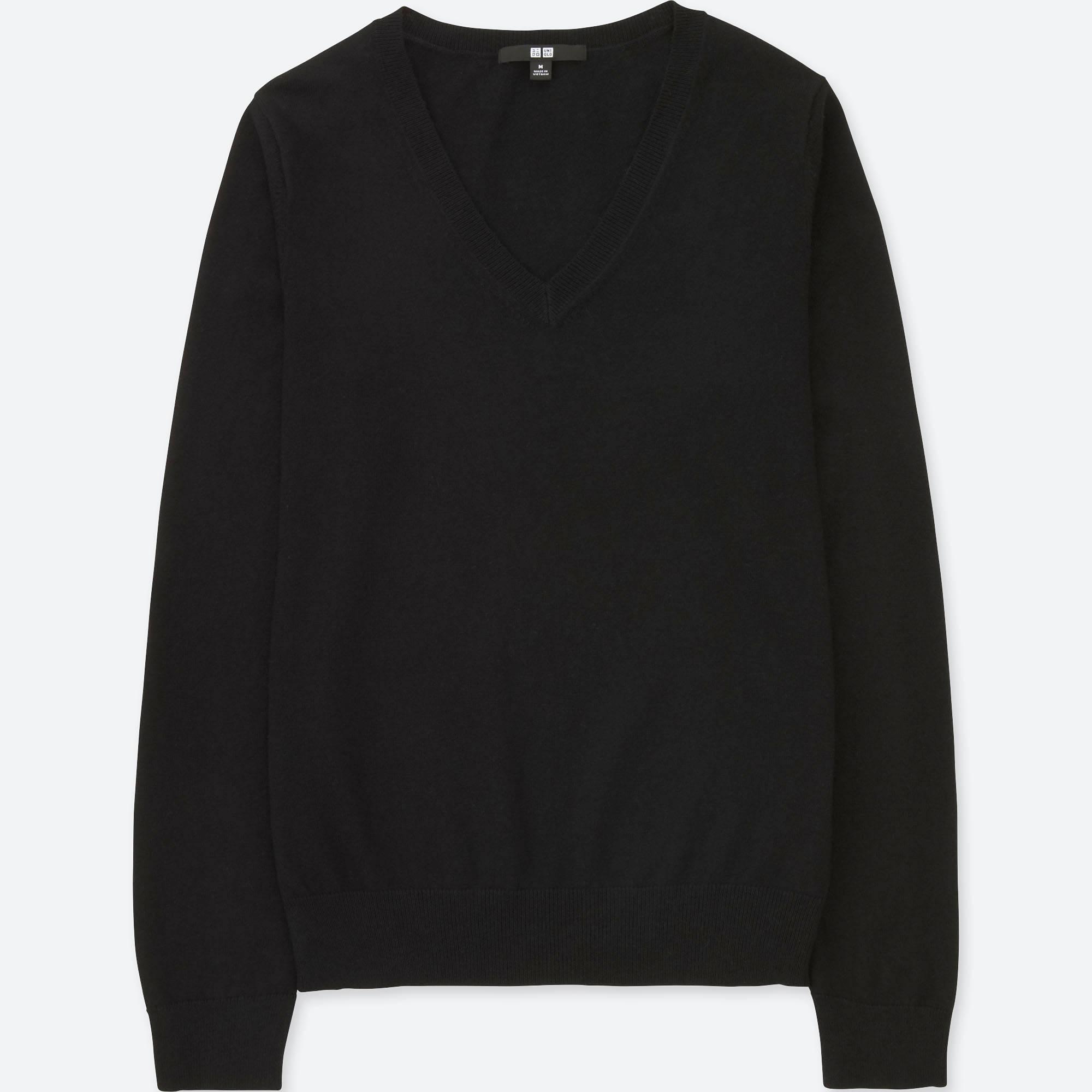 Uniqlo Women Cotton Cashmere V-neck Sweater in Black | Lyst