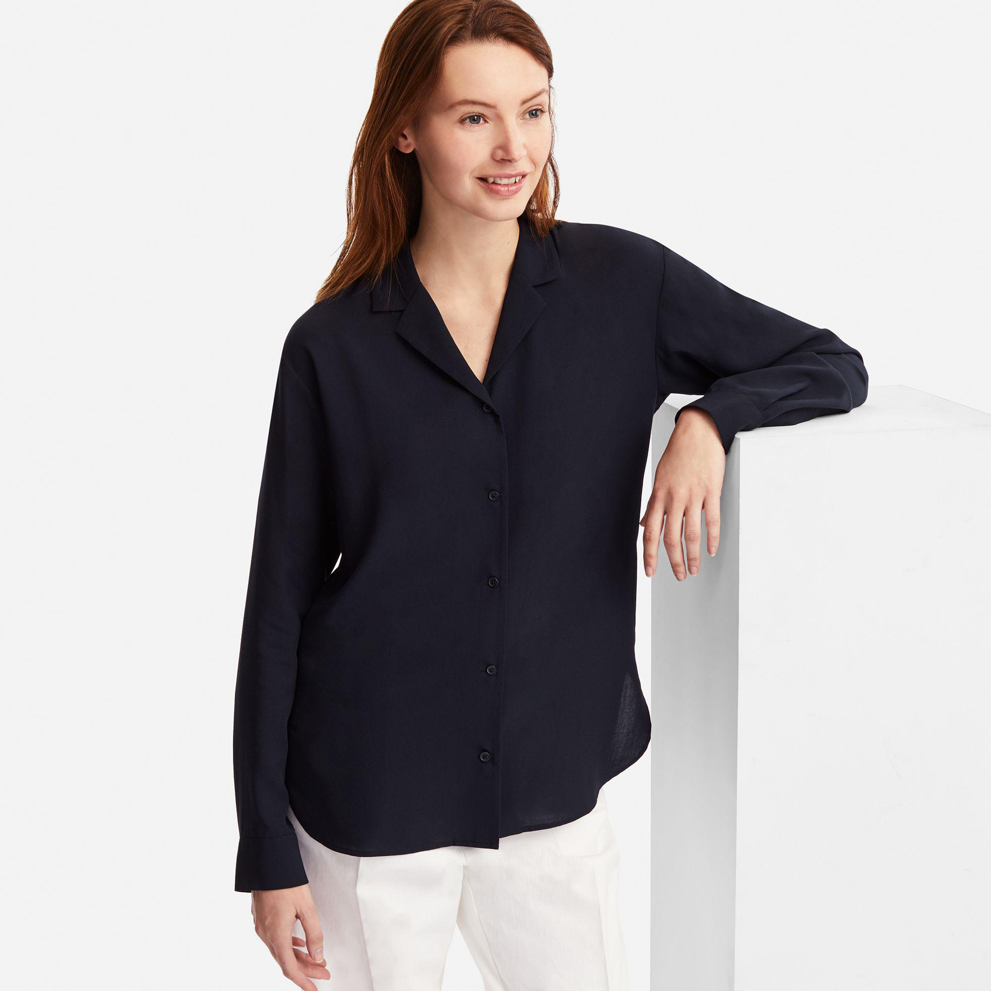 75ac77b8 Uniqlo Women Rayon Open Collar Long-sleeve Blouse in Blue - Lyst