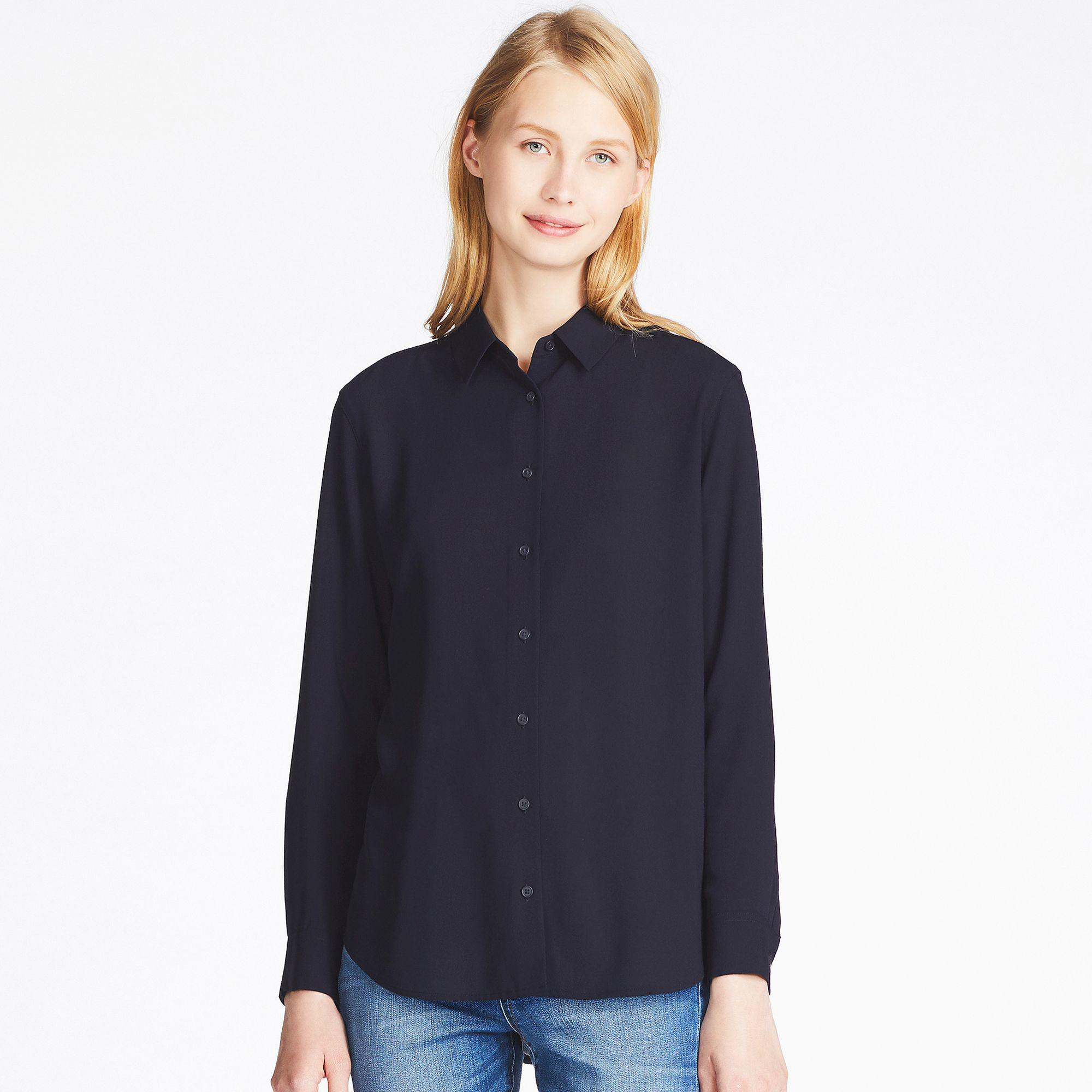 725b496b277b0 Uniqlo Easy Care Rayon Long Sleeved Blouse in Blue - Lyst