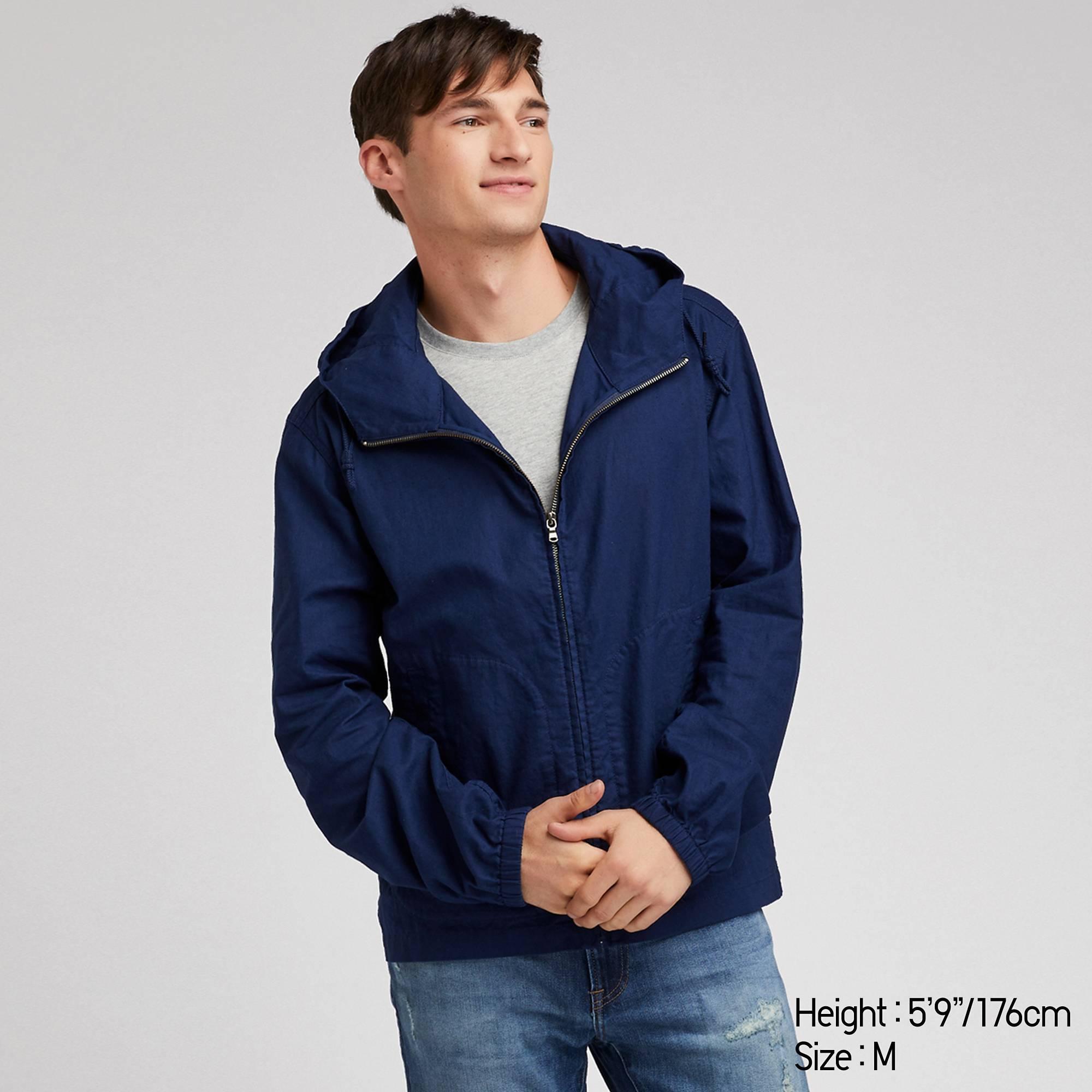 d57343894cf0 Lyst - Uniqlo Men Linen Cotton Full-zip Parka in Blue for Men