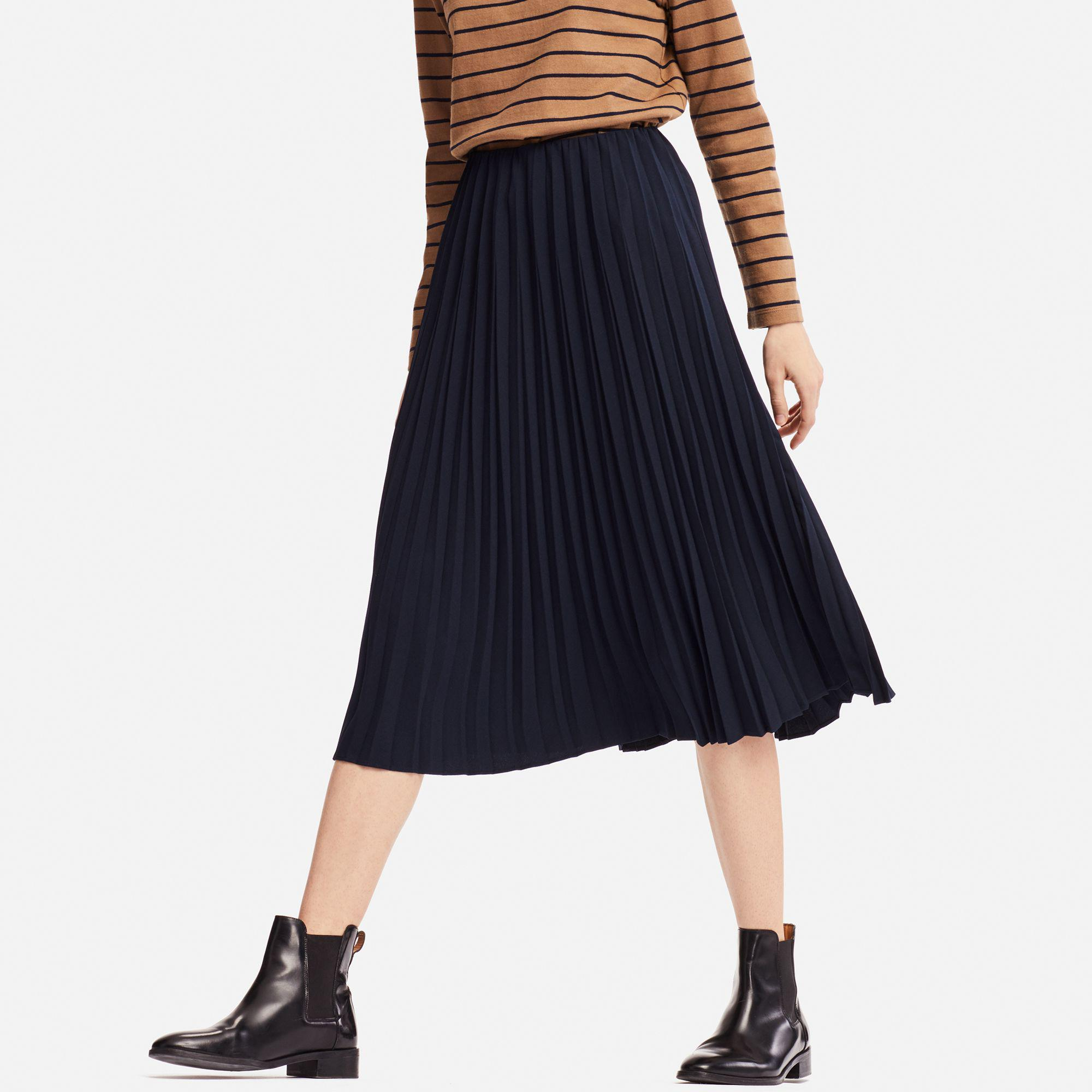 120a380012 Uniqlo Crape Pleated Skirt (high Waist) in Blue - Lyst