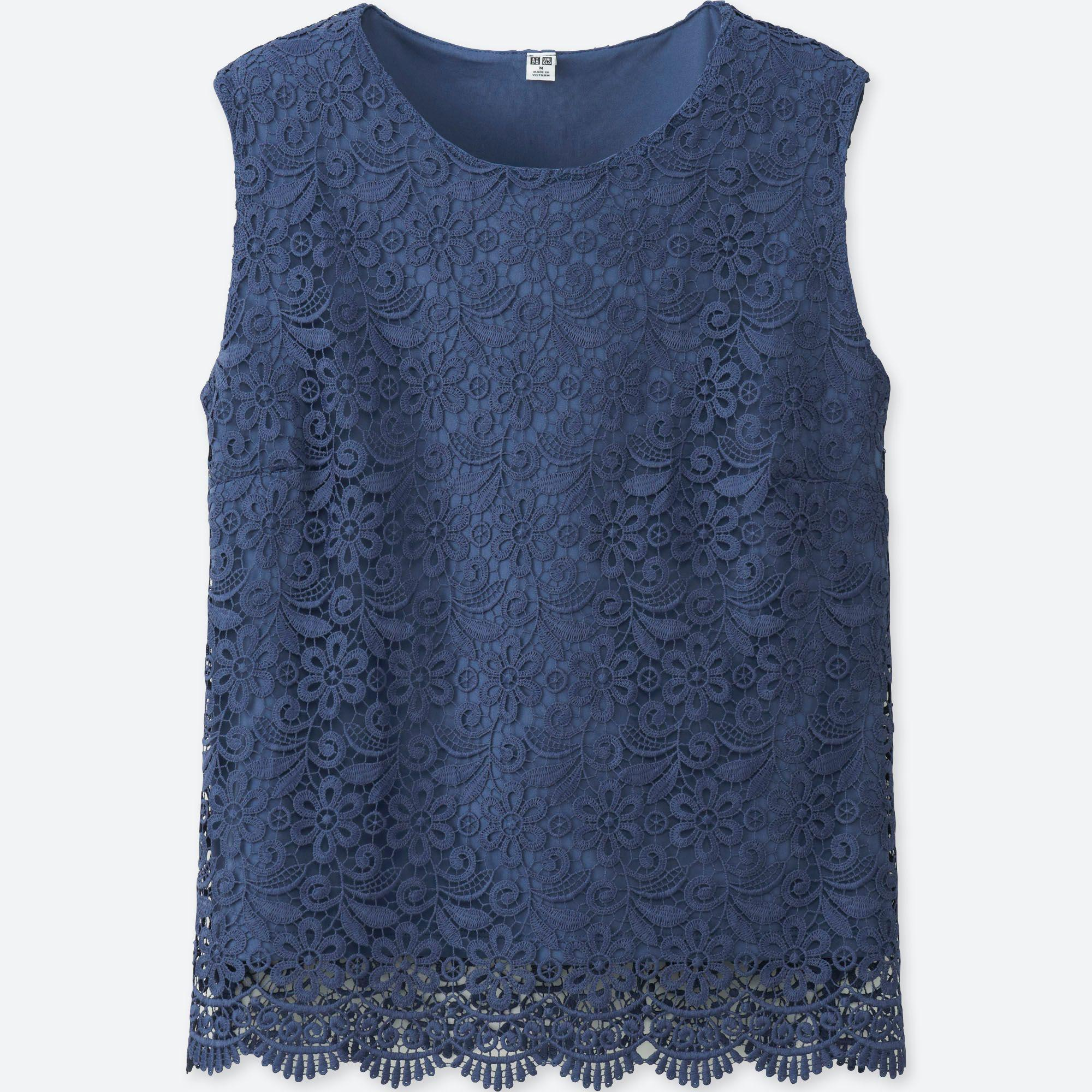 80bb728910994c Uniqlo Lace Sleeveless T-shirt in Blue - Lyst