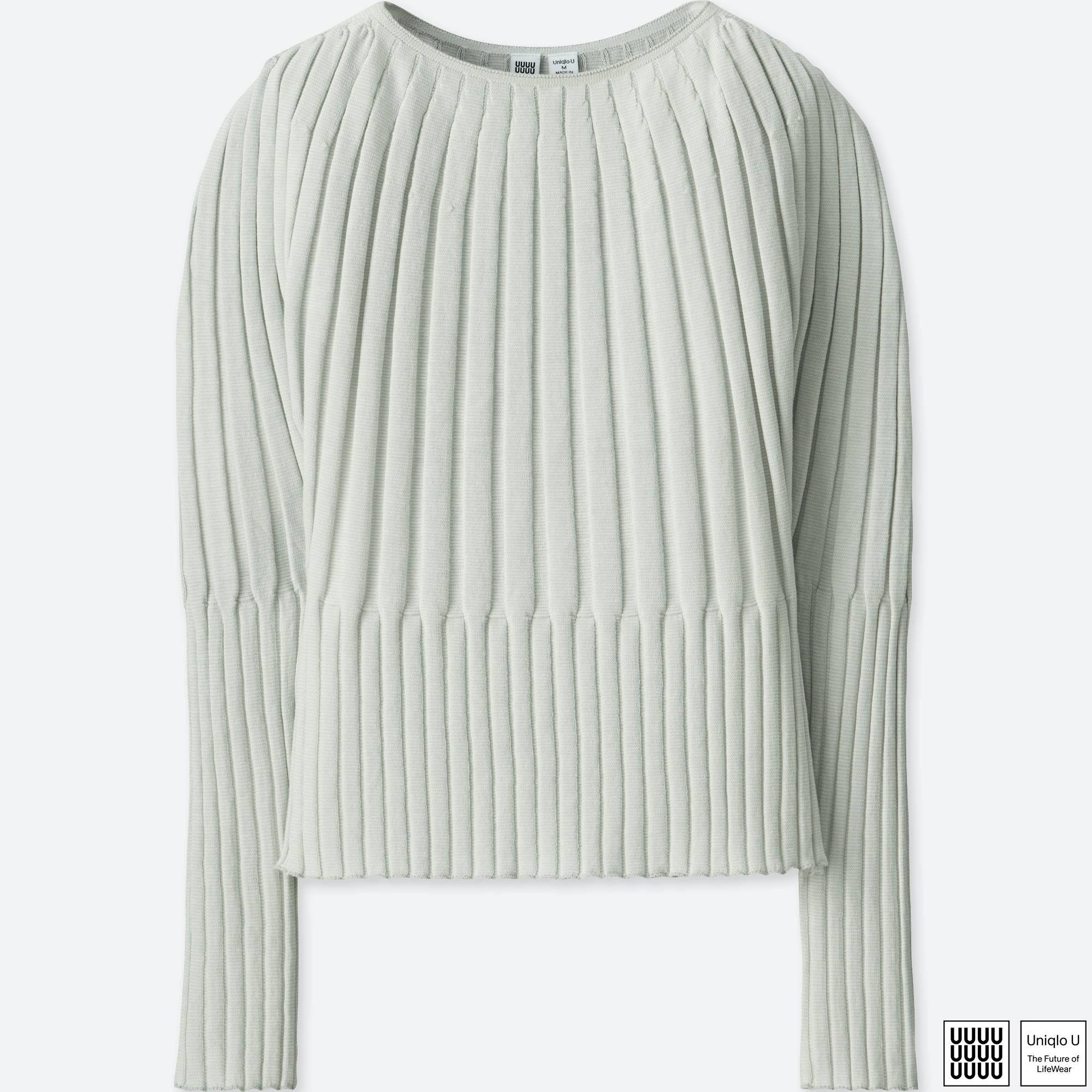 d5eaa2262 Lyst - Uniqlo Women U 3d Ribbed Balloon Crewneck Sweater