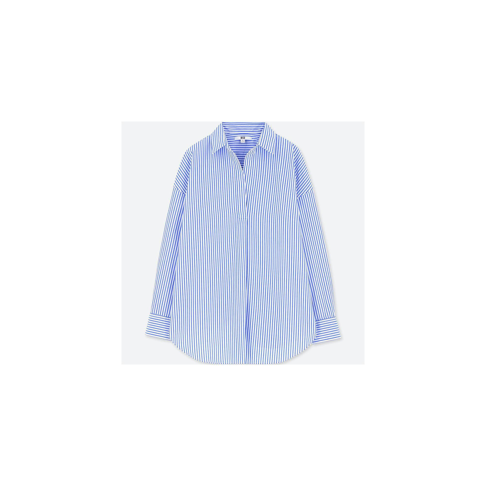 9abac29111 Lyst - Uniqlo Women Extra Fine Cotton Striped Long Sleeve Shirt in Blue