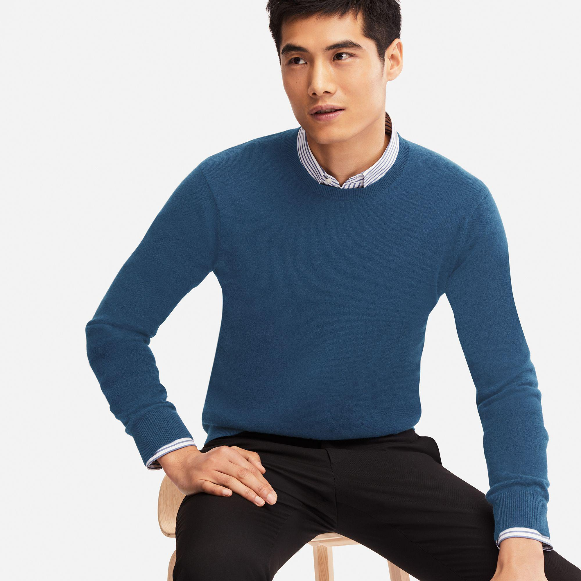 fff005d85 Uniqlo Cashmere Crew Neck Long Sleeved Jumper in Blue for Men - Save ...