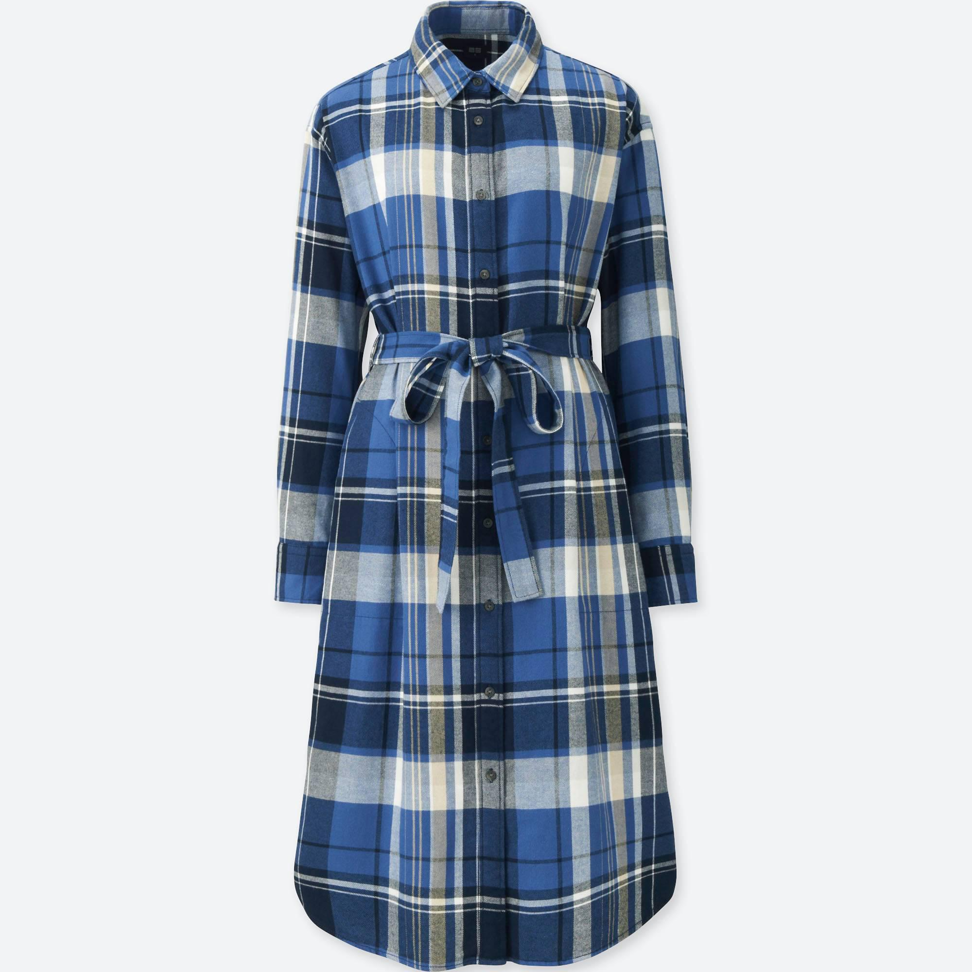 fae9d4331502a Lyst - Uniqlo Women Flannel Long-sleeve Shirt Dress in Blue