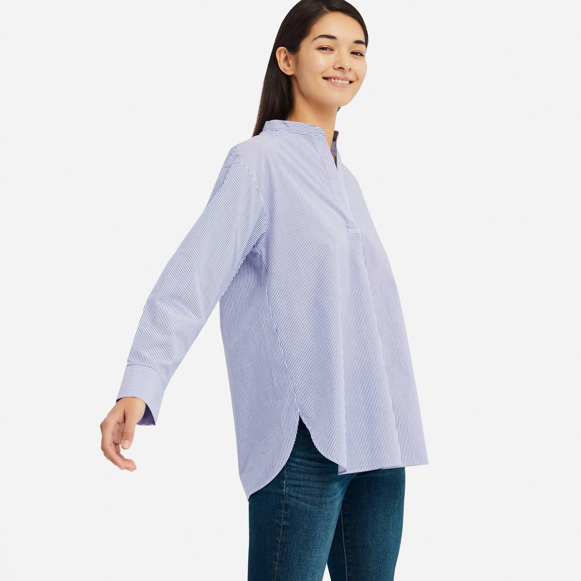 ad8ef550fa5b63 Lyst - Uniqlo Women Extra Fine Cotton Stand Collar Long-sleeve Shirt ...