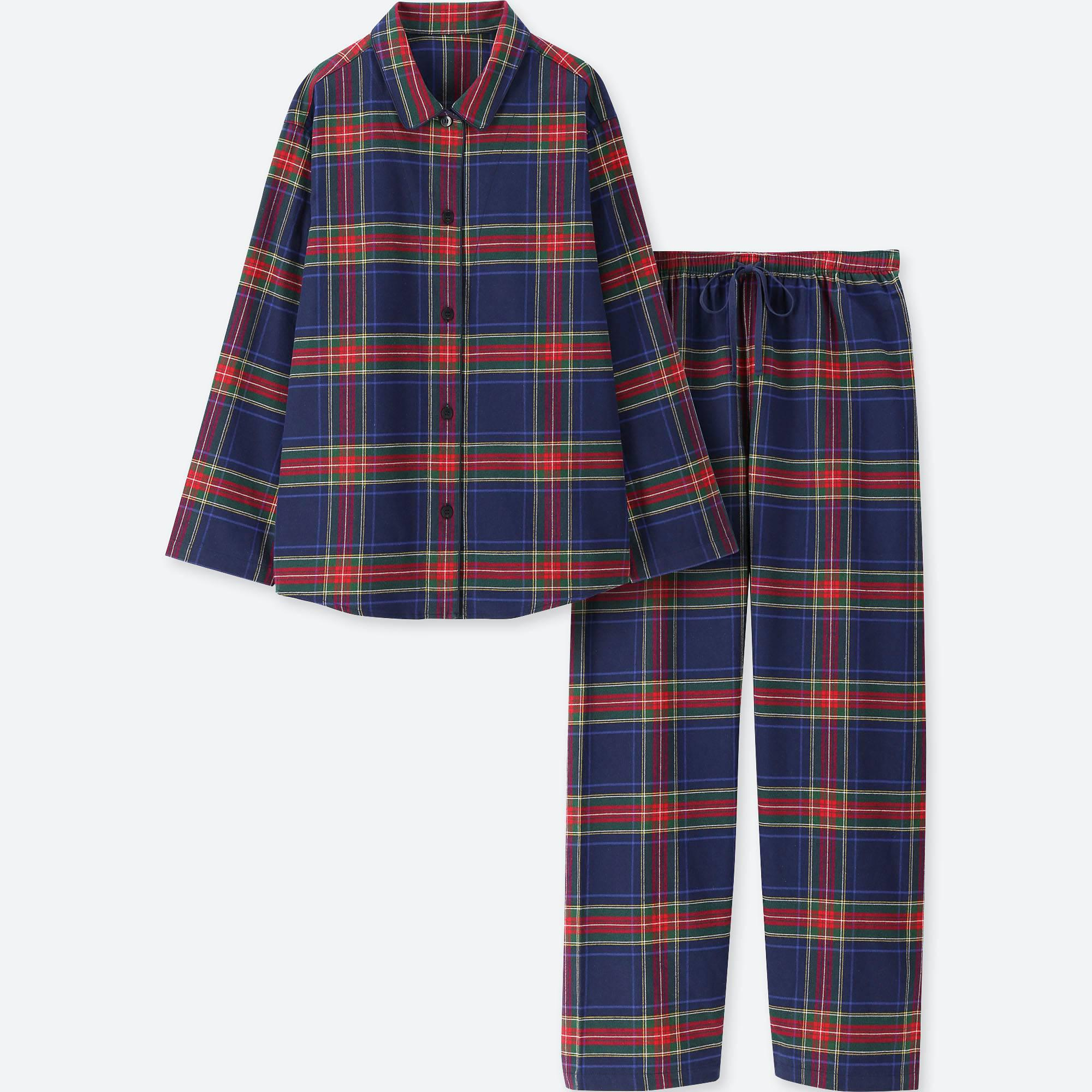 Lyst - Uniqlo Women Flannel Long-sleeve Pajamas in Blue 7072ac2eb