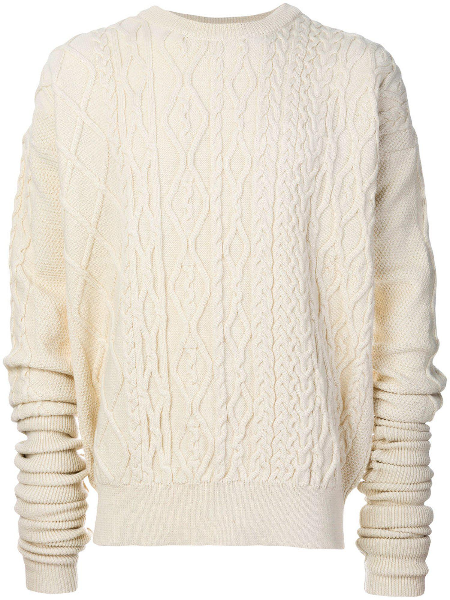 Y. project Ivory Cable Knit Sweater | Lyst