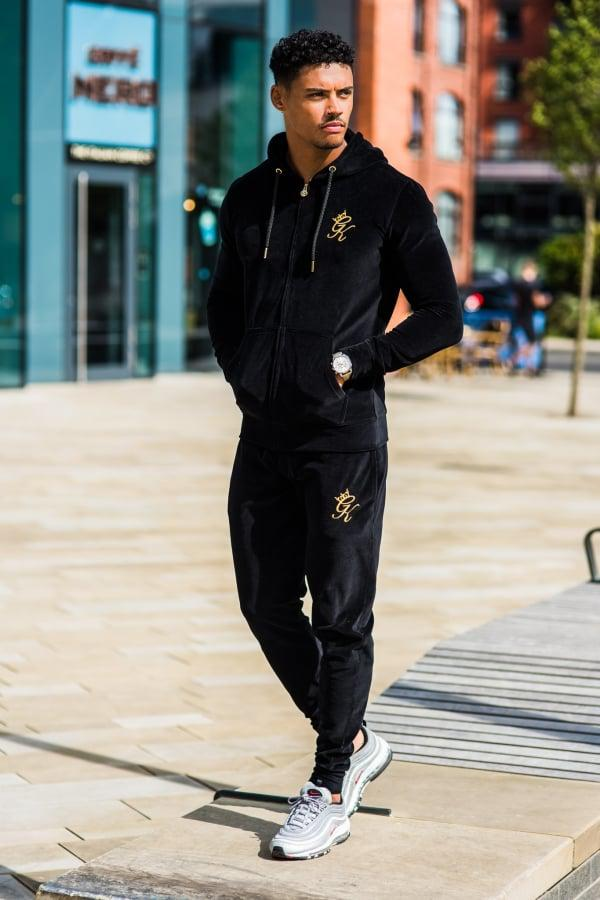 Gym King Velour Herc Tracksuit Top in Black for Men - Lyst c6a87e277