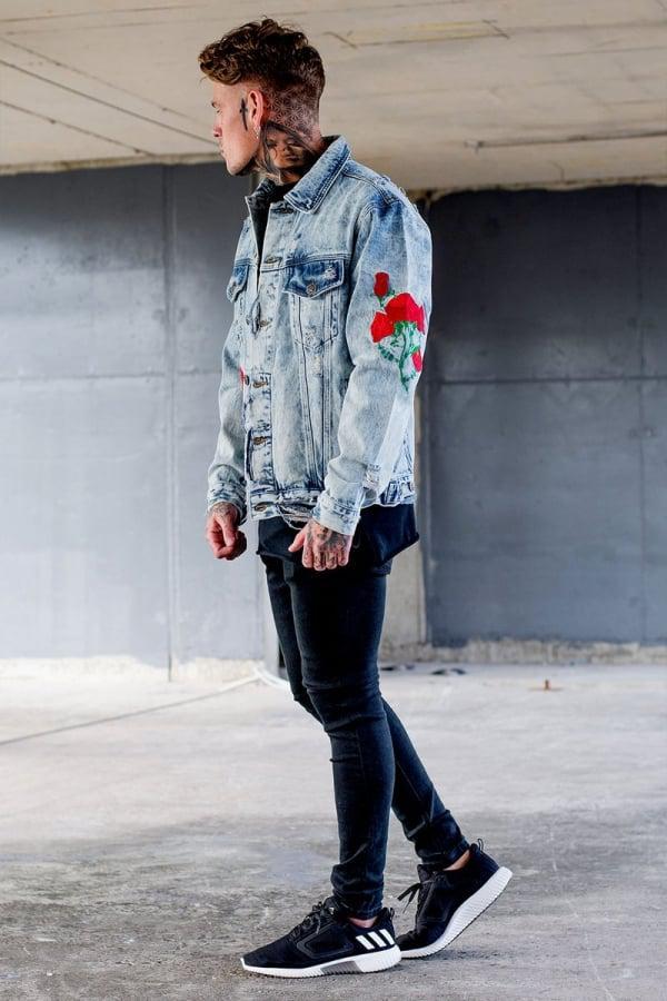 498f6027ab Sinners Attire Distressed Rose Denim Jacket in Blue for Men - Lyst