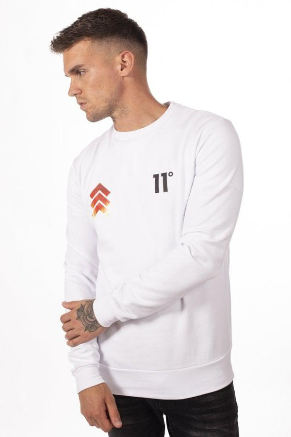 28c676dcbb3c 11 Degrees Flame Triple Chevron Sweatshirt in White for Men - Lyst