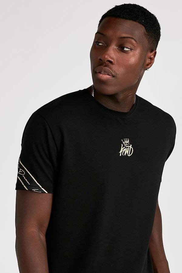 Black//Gold Kings Will Dream T-Shirt Rifton Pinstripe Shoulder Taped Crew Neck