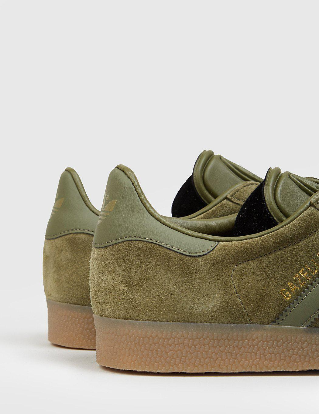 Adidas Gazelle Suede Shoes Olive Cargo Bb