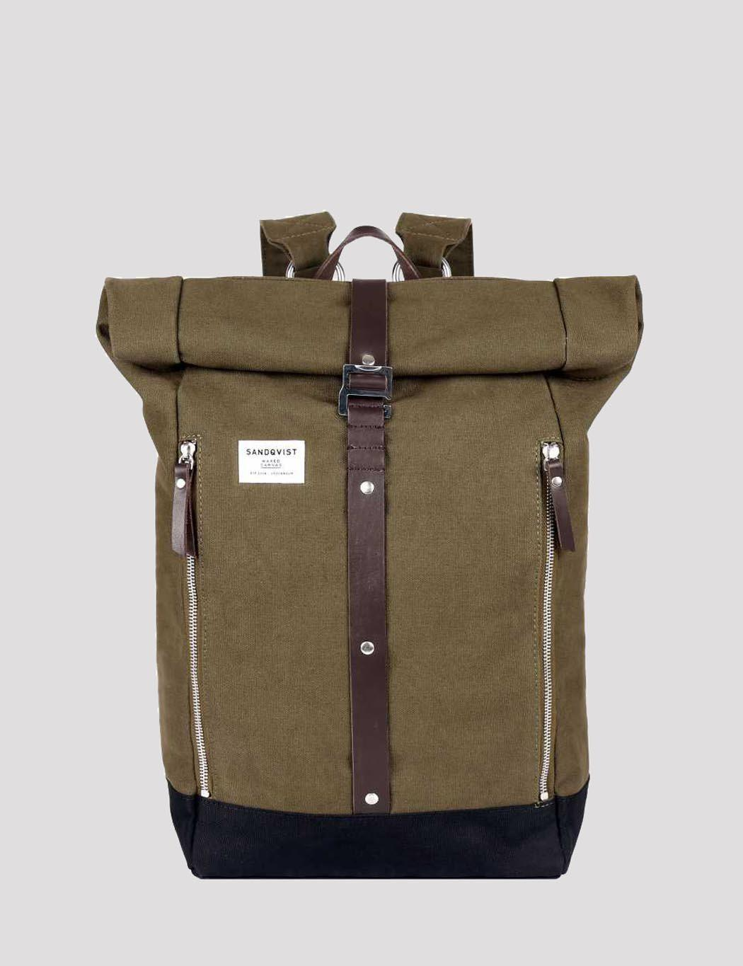 Sandqvist Cotton Rolf Rolltop Backpack Canvas In Green