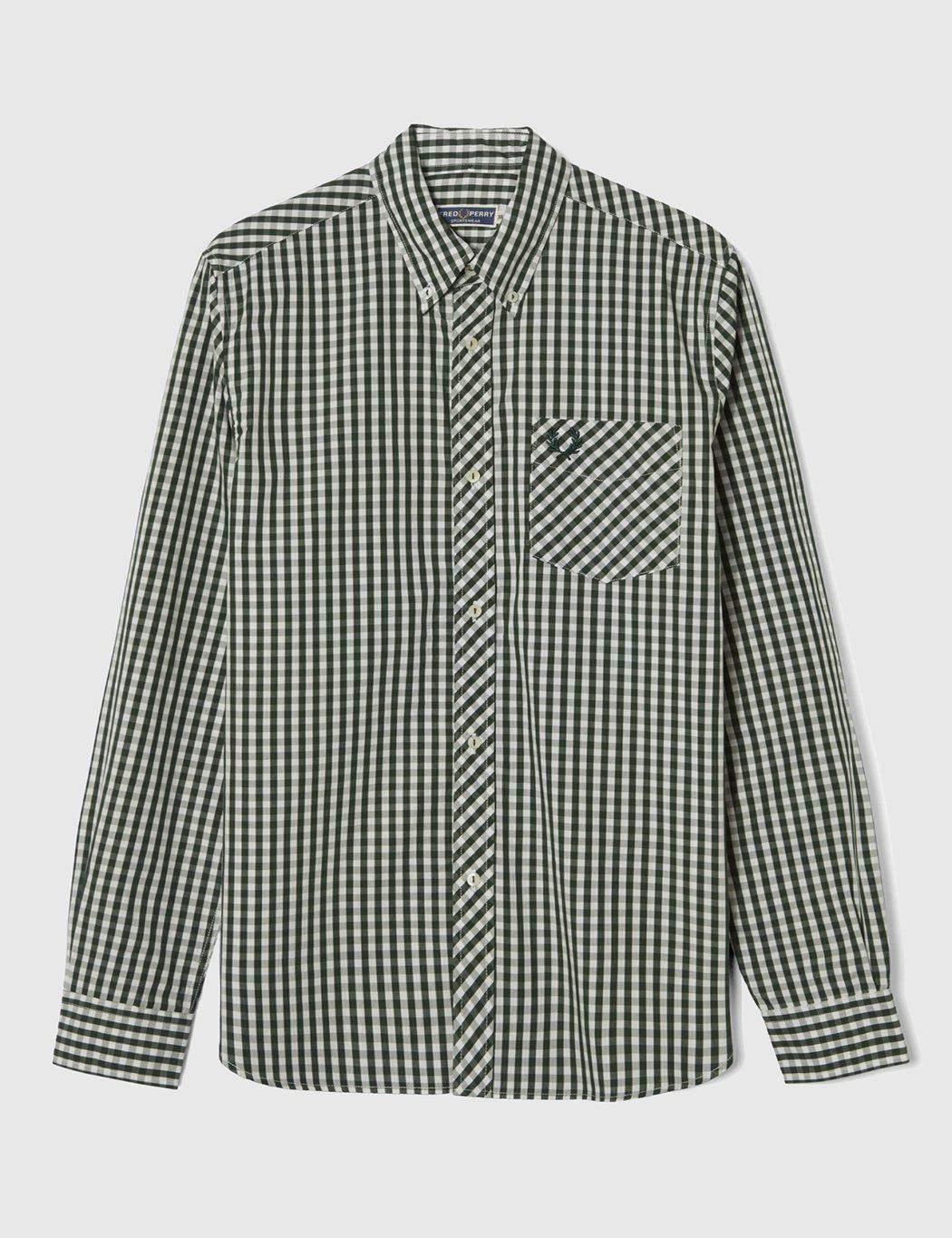 Fred Perry Cotton Gingham Shirt in Green for Men