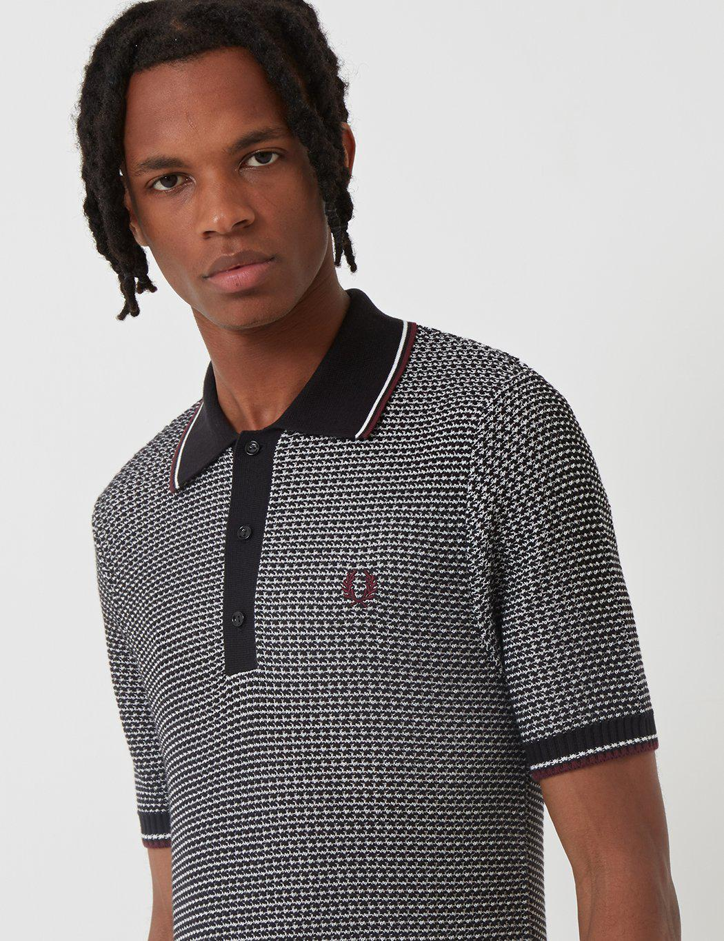 c2f93a46 Fred Perry Re-issues Two Colour Texture Knit Polo Shirt in Black for Men -  Lyst