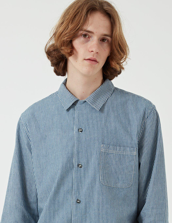 A.P.C. Cotton Surchemise Luca Shirt (hickory Stripe) in Blue for Men