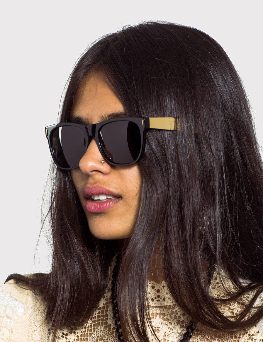 Retrosuperfuture Super Classic Francis Sunglasses (large) in Black/Gold (Black) for Men
