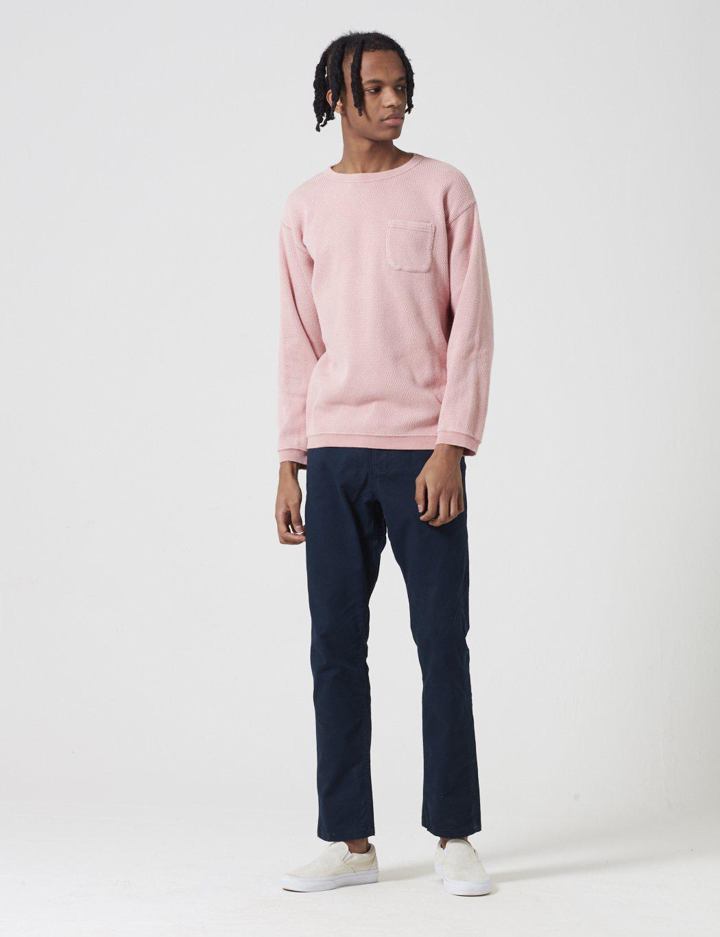 Manastash Cotton Honeycome Snug Thermal Sweatshirt in Pink for Men