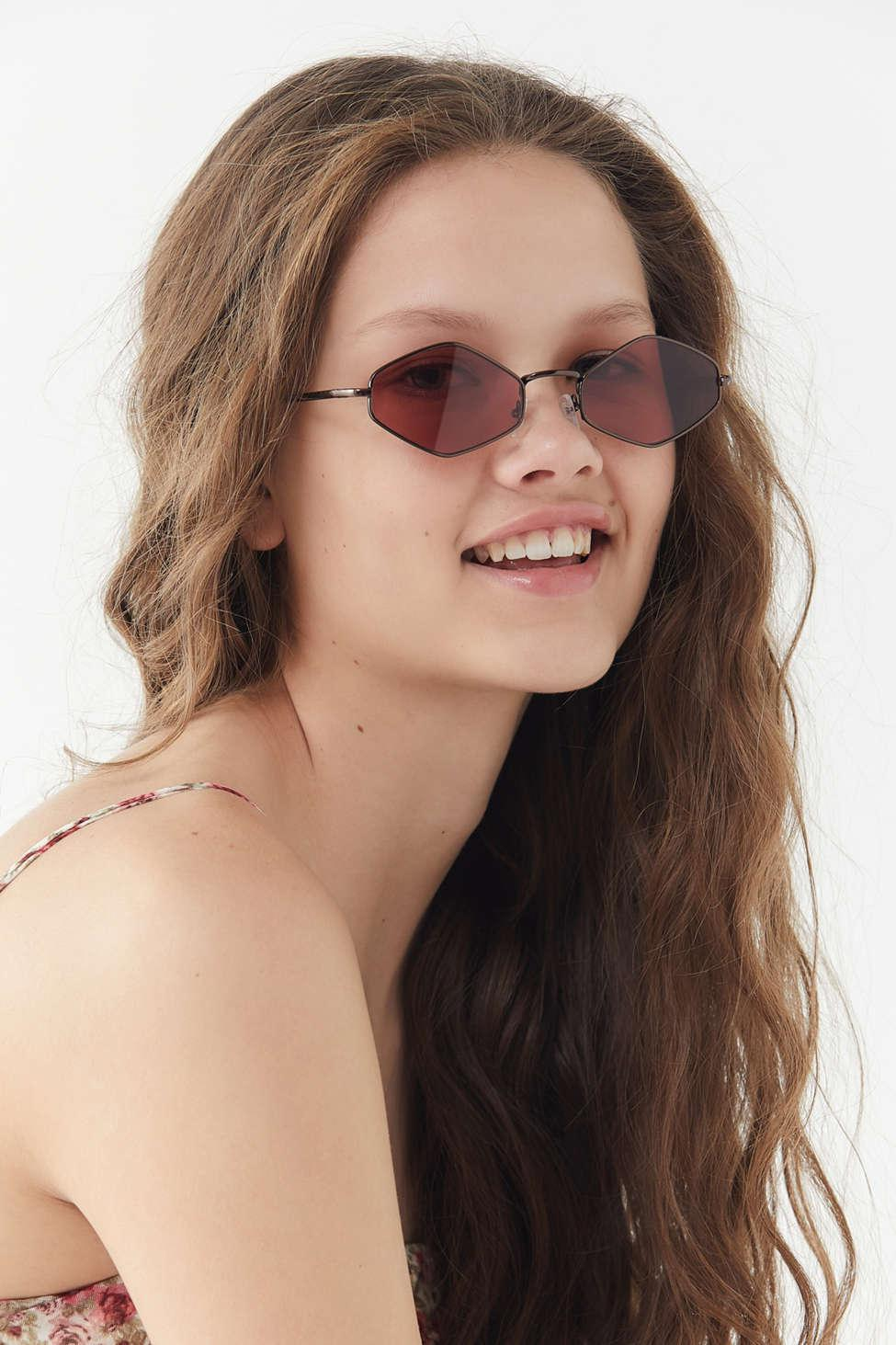 Urban Outfitters Womens Red Lexi Slim Metal Diamond Sunglasses