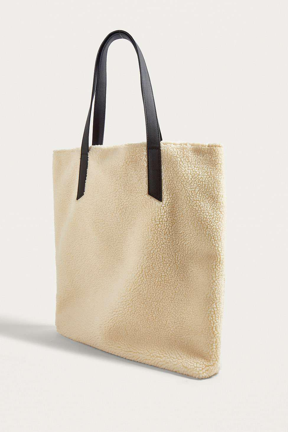 Urban Outfitters Cream Shearling Tote Bag in White