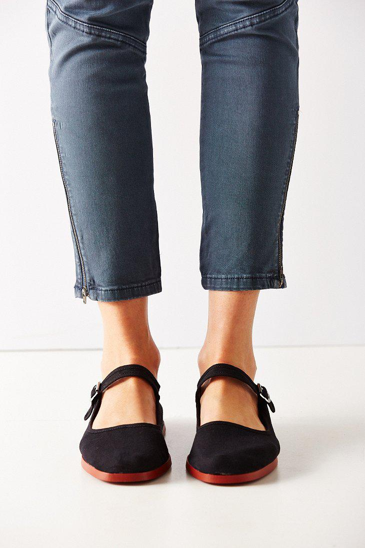 Urban Outfitters Velvet Cotton Mary Jane Flat In Black Lyst
