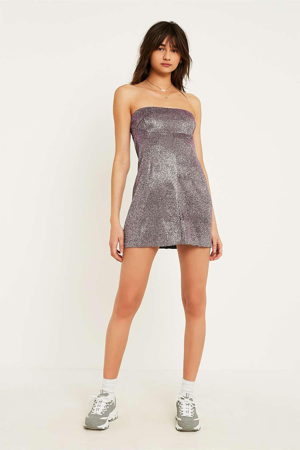 0683d0ee87 Urban Outfitters Uo Moonbeam Metallic Tube Top Dress - Womens M in ...