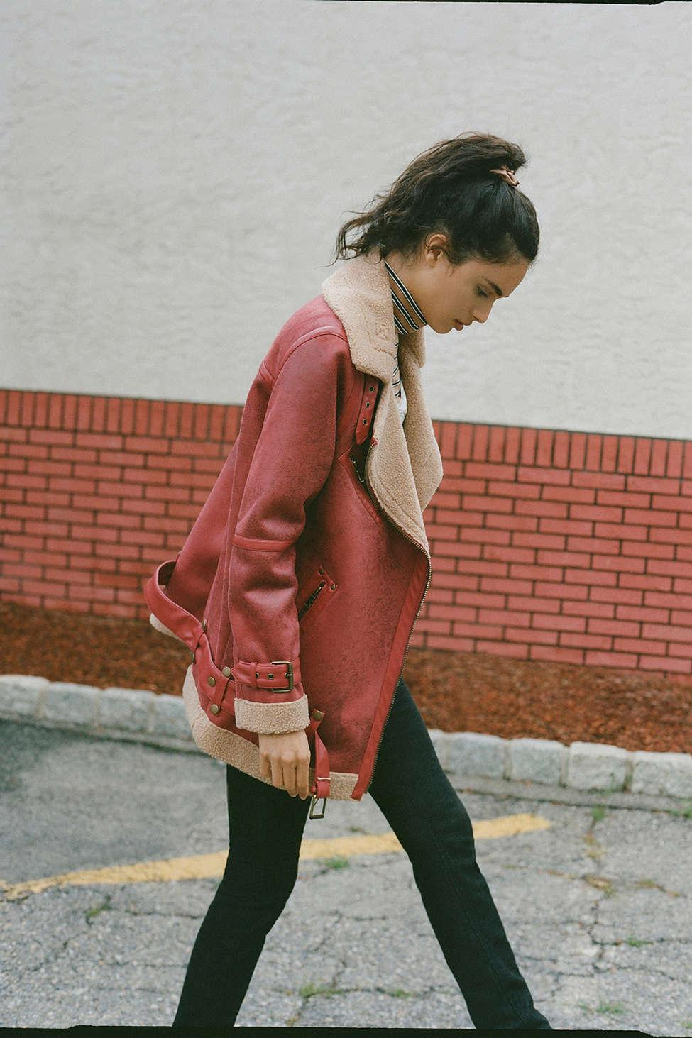 aad22dde2 Urban Outfitters Red Uo Oversized Faux Leather Aviator Jacket