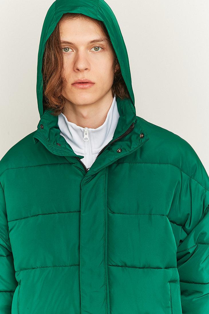 Urban Outfitters Green Zip Puffer Jacket for Men