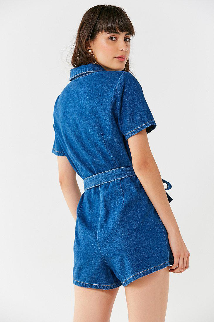 c7721cffccc Lyst - Urban Outfitters Uo Hello Sunshine Denim Romper in Blue