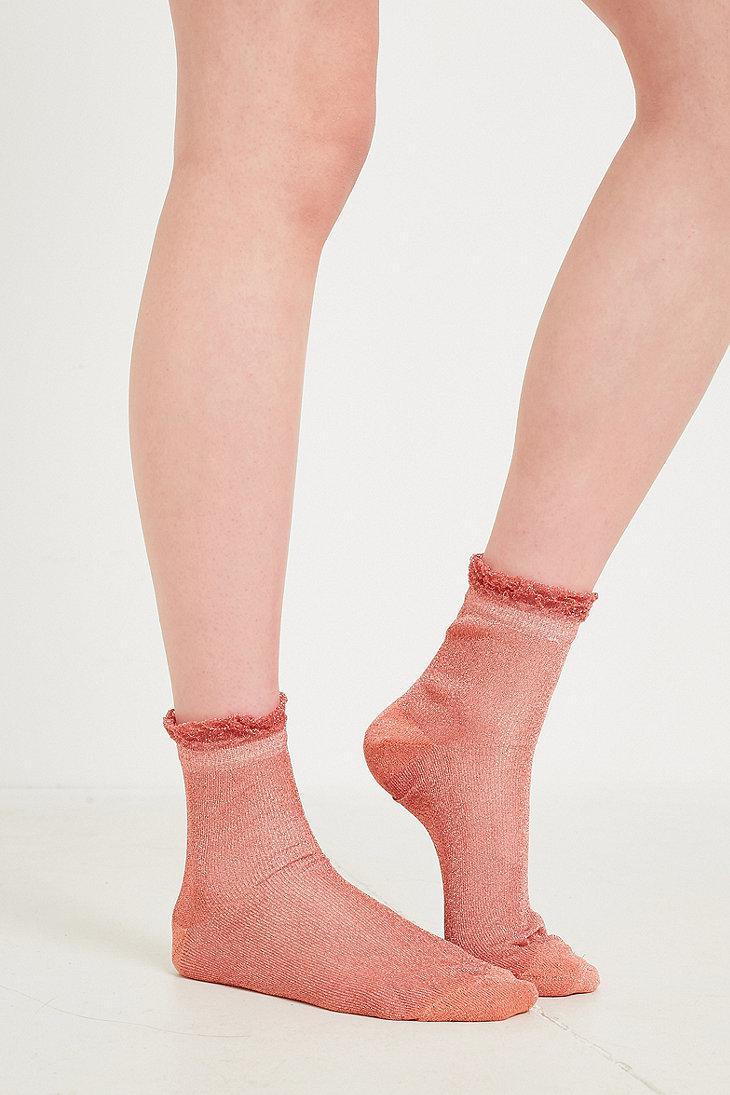 Pink glitter ruffle socks